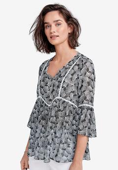 Crochet-Trim Print Blouse by ellos®,
