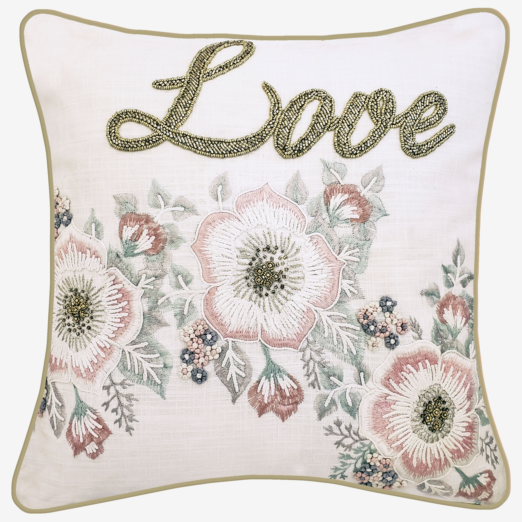 "Floral Beaded ""Love"" Decorative Pillow, OYSTER PINK"