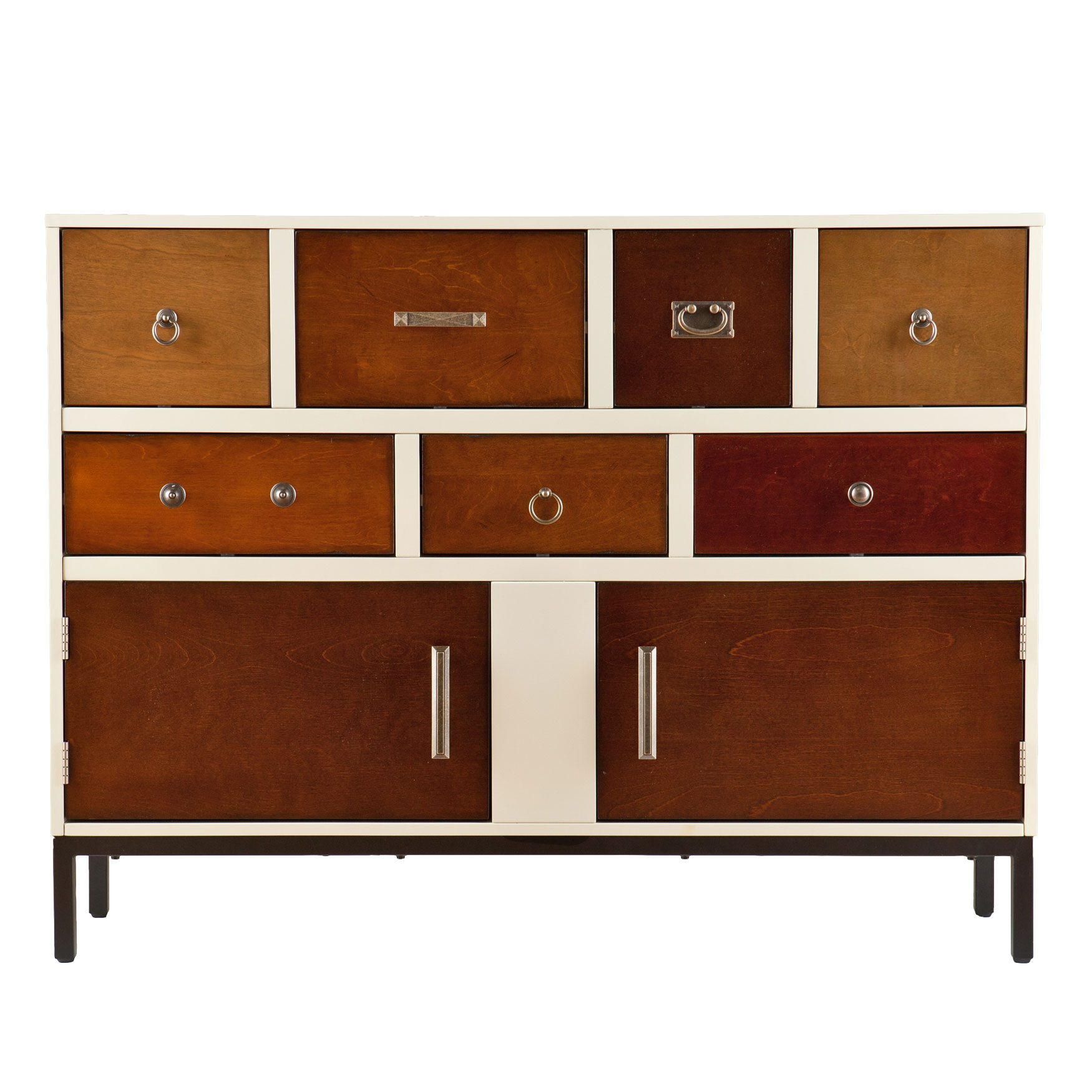 Contemporary Multi-Colored Wood Console Cabinet, VANILLA CREAM