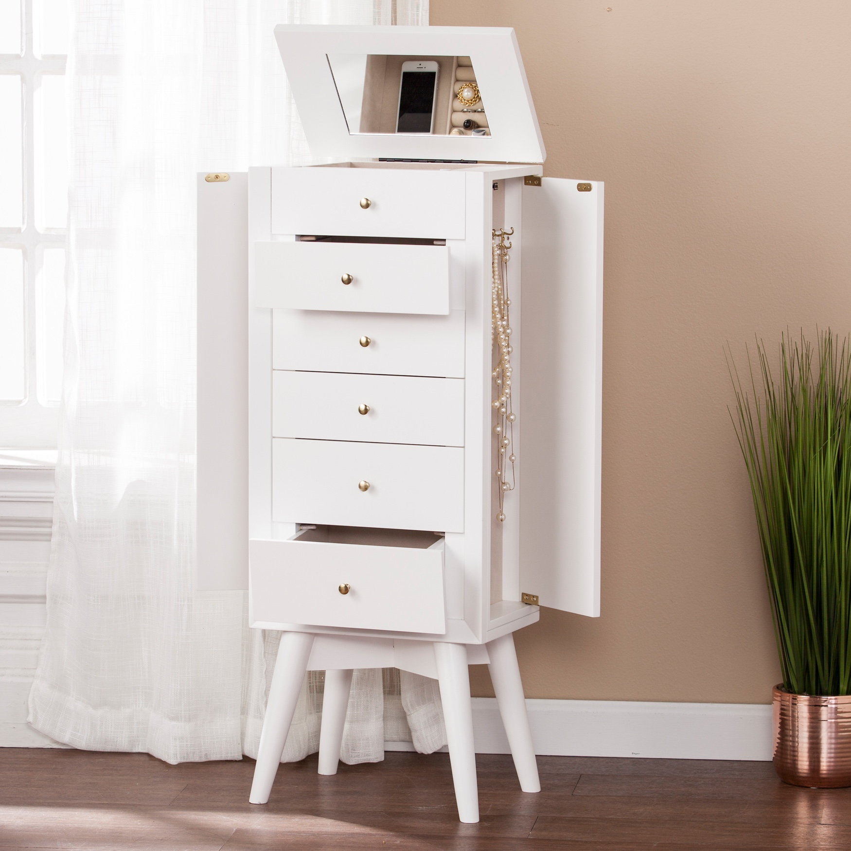 Wesley Jewelry Armoire, WHITE