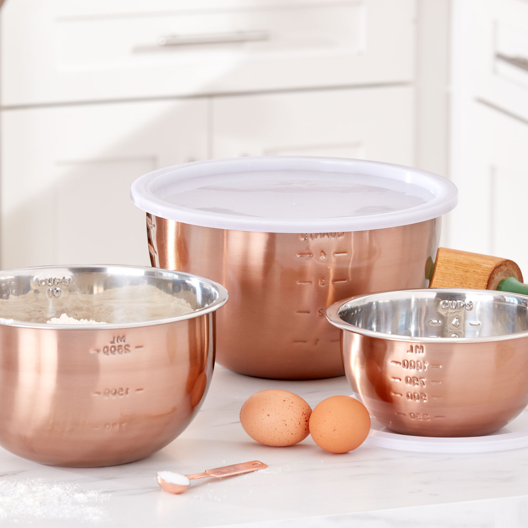 6-Pc. Set of Copper Mixing Bowls & Lids, COPPER