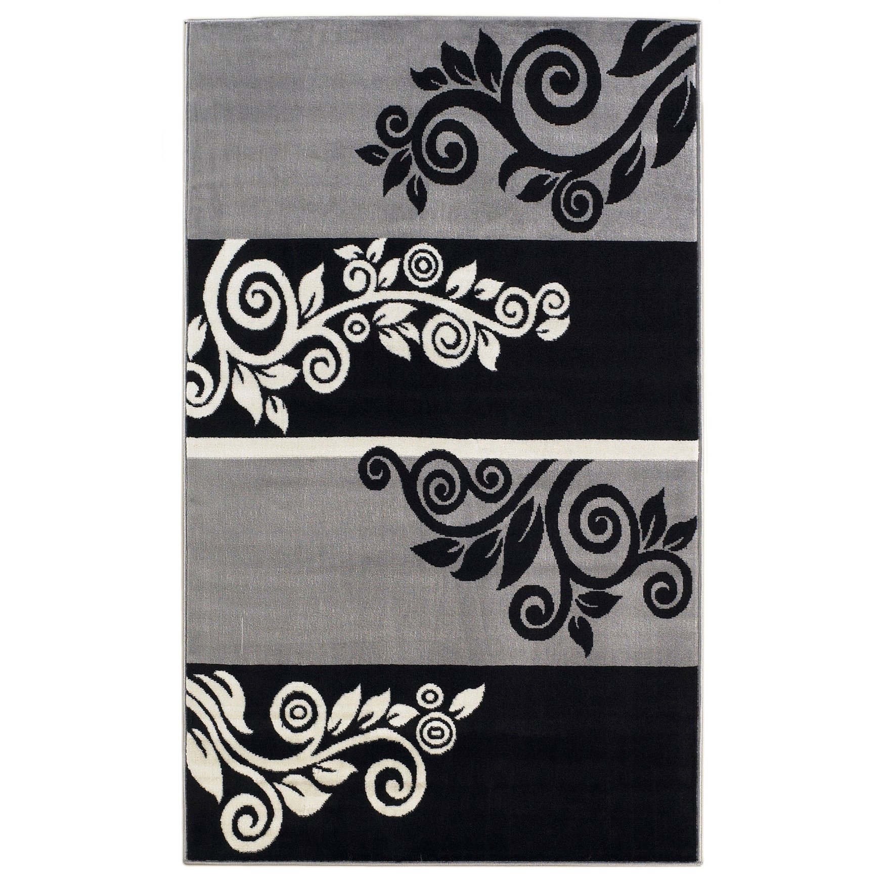 Capri Black/Grey 5' x 7' Area Rug, BLACK GREY