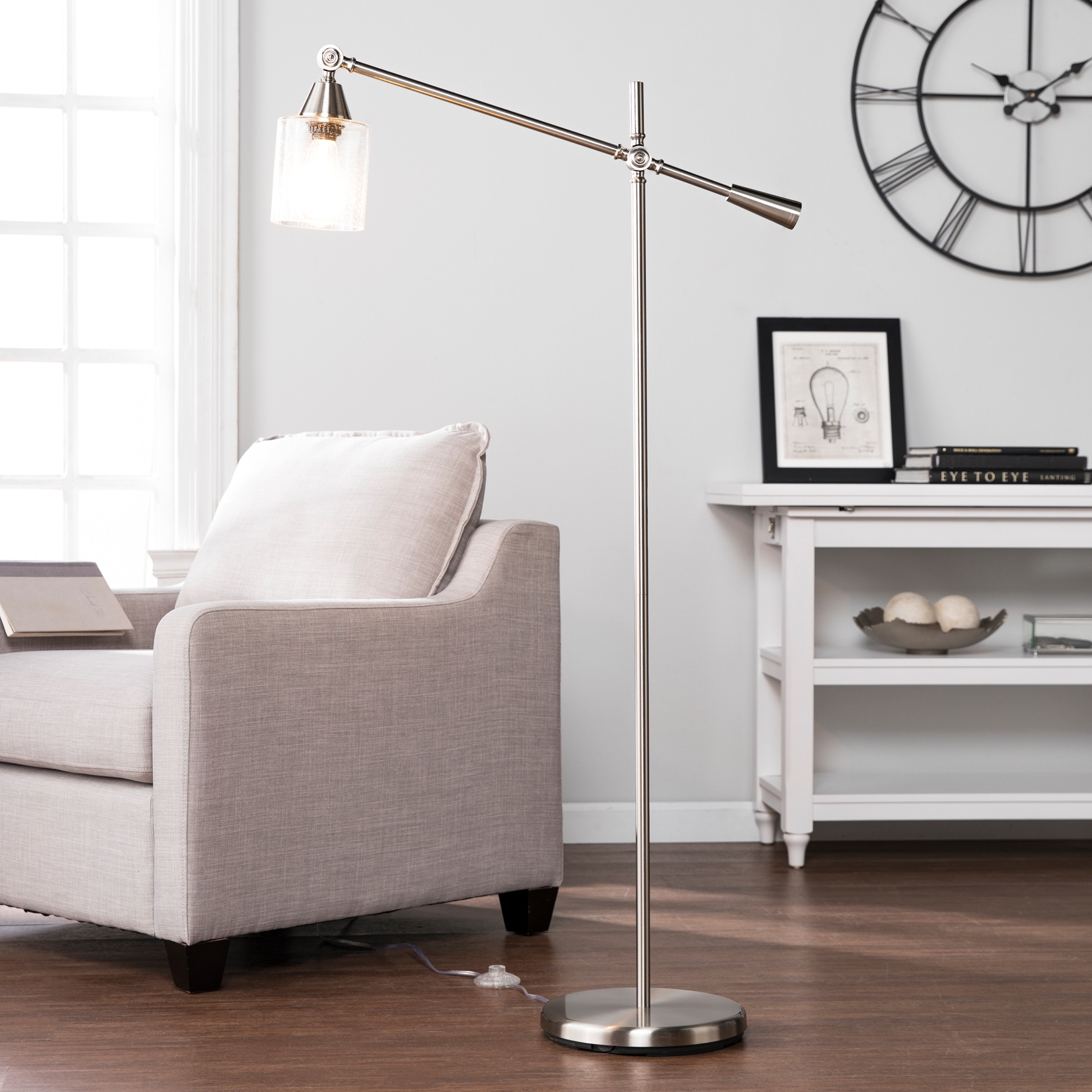 Tiernan Floor Lamp, NICKEL