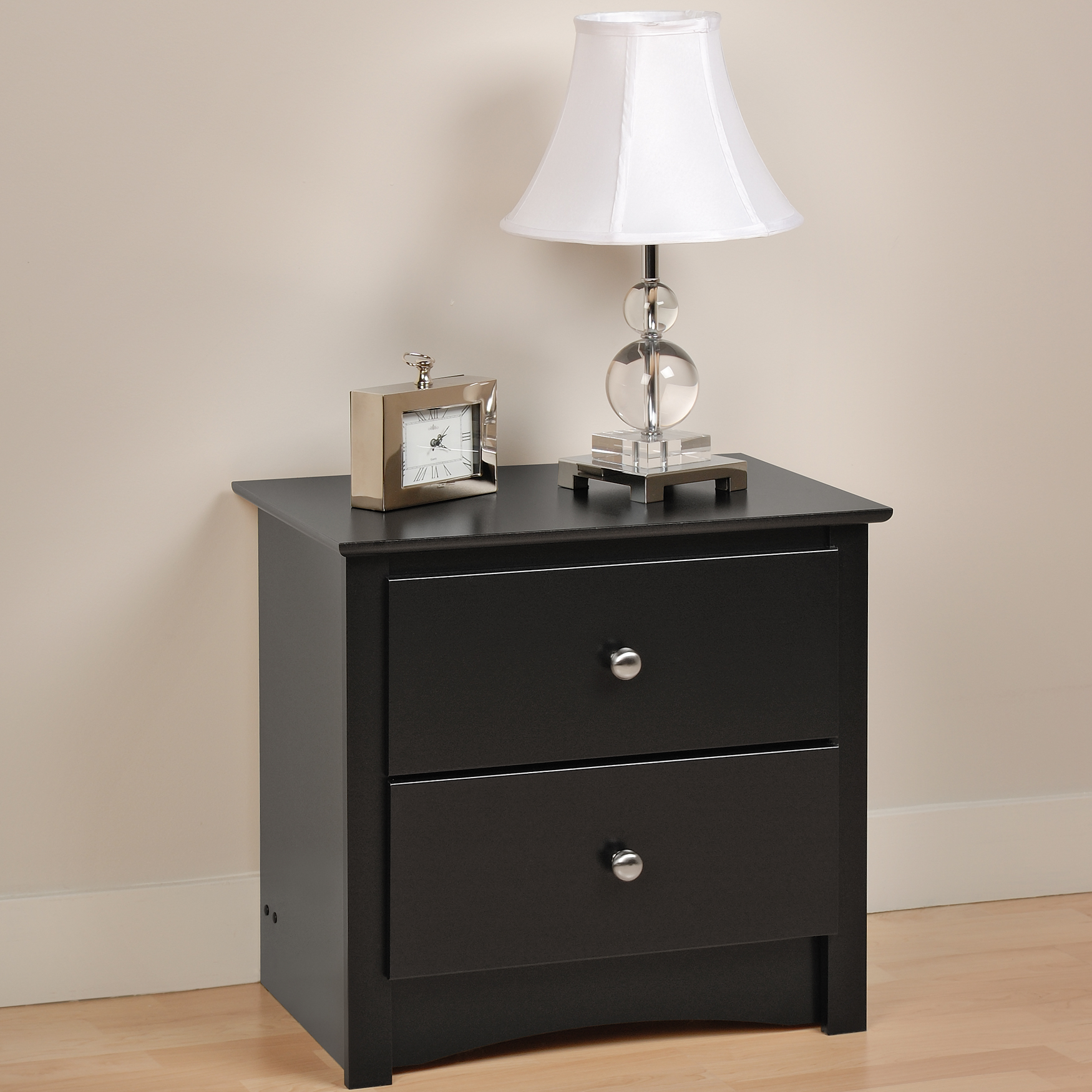 Sonoma 2 Drawer Night Stand , BLACK
