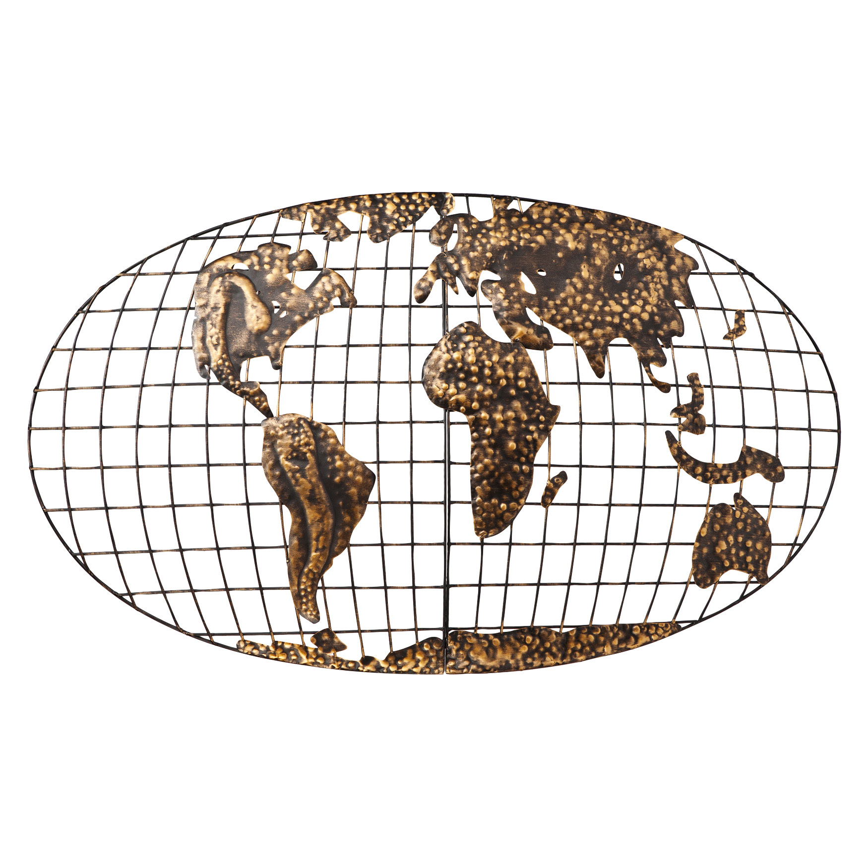 Iron World Map Wall Art, GOLD