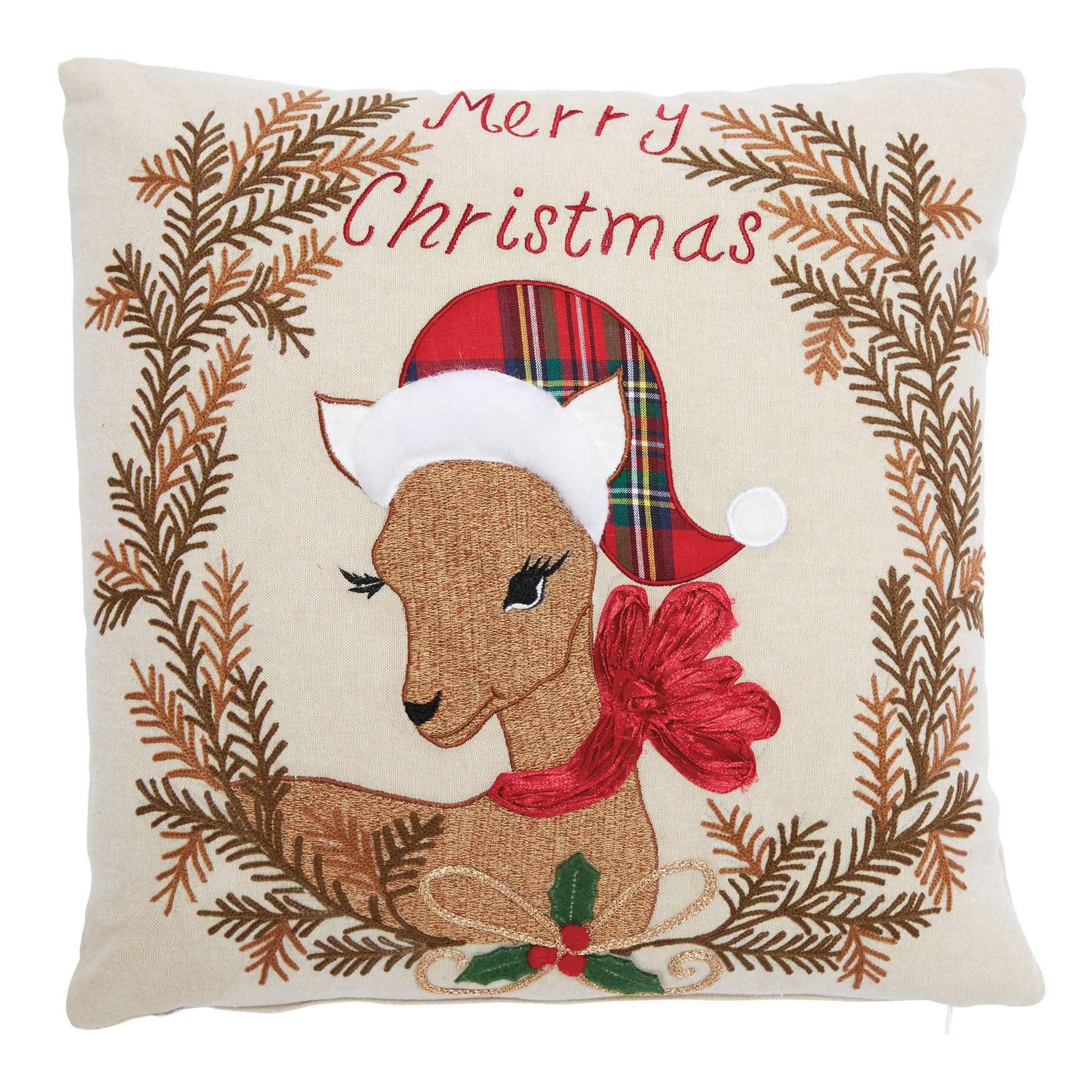 Christmas Fawn Decorative Pillow, MULTI
