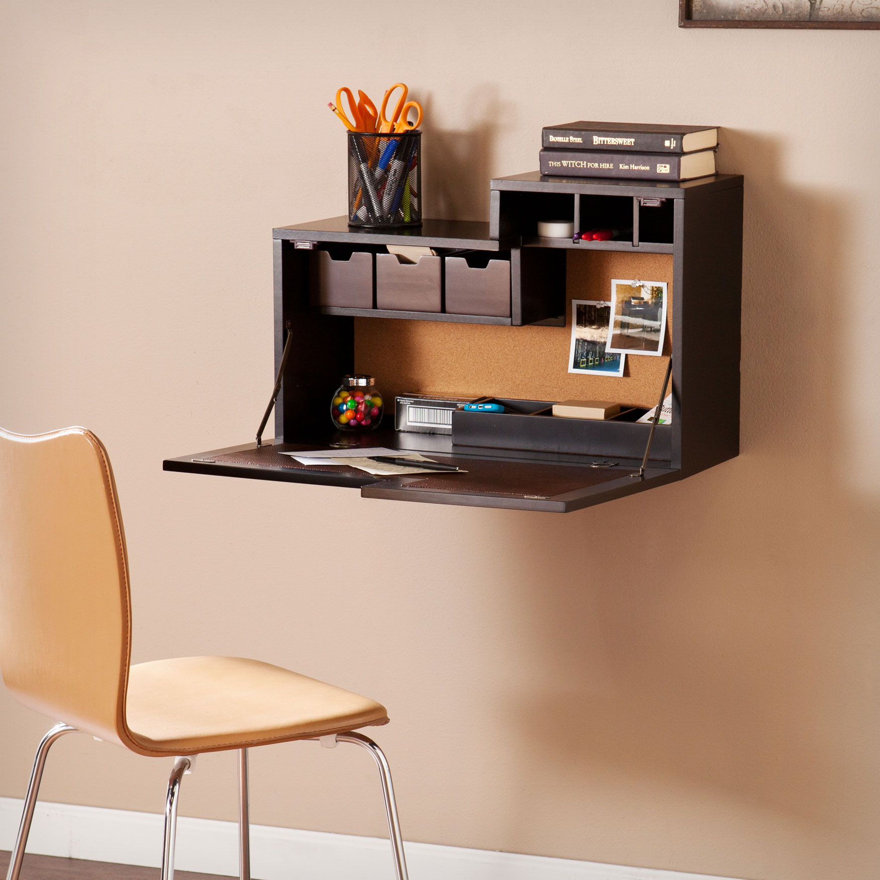 Wall-Mounted Desk with Foldaway Desktop, BLACK CHOCOLATE