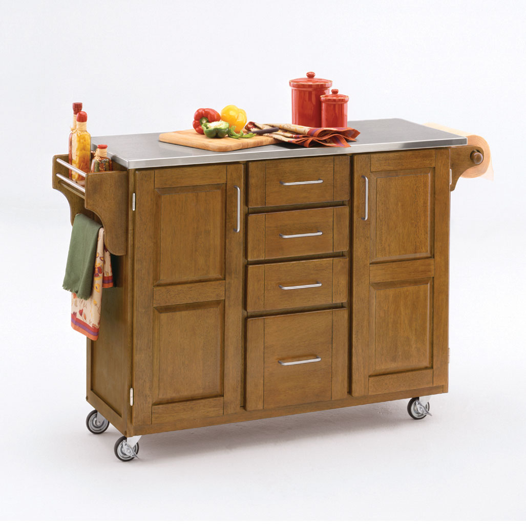 Large Cottage Oak Finish Create a Cart with Stainless Steel Top, OAK STAINLESS STEEL