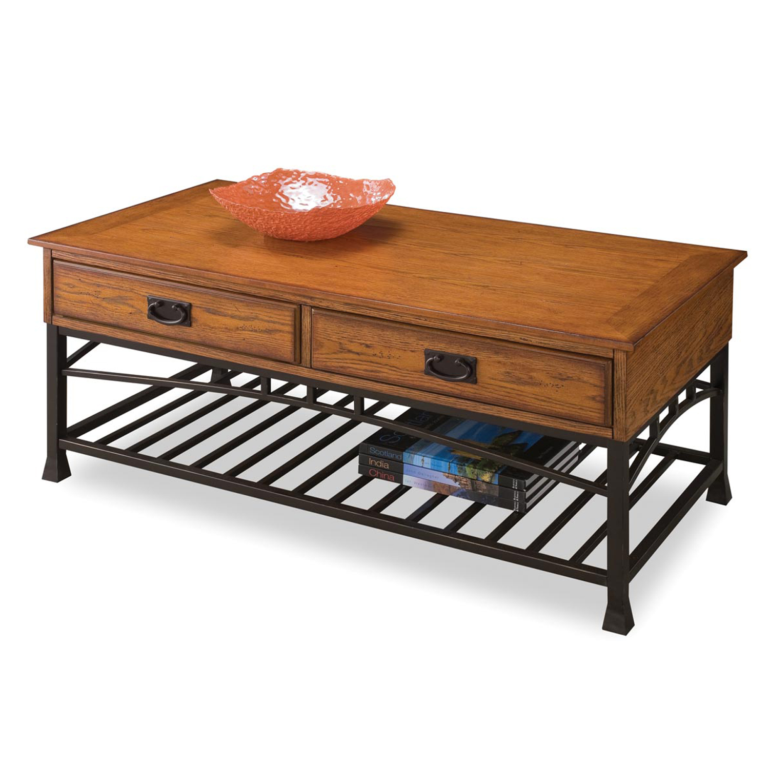 Modern Craftsman Distressed Oak Coffee Table, DISTRESSED OAK