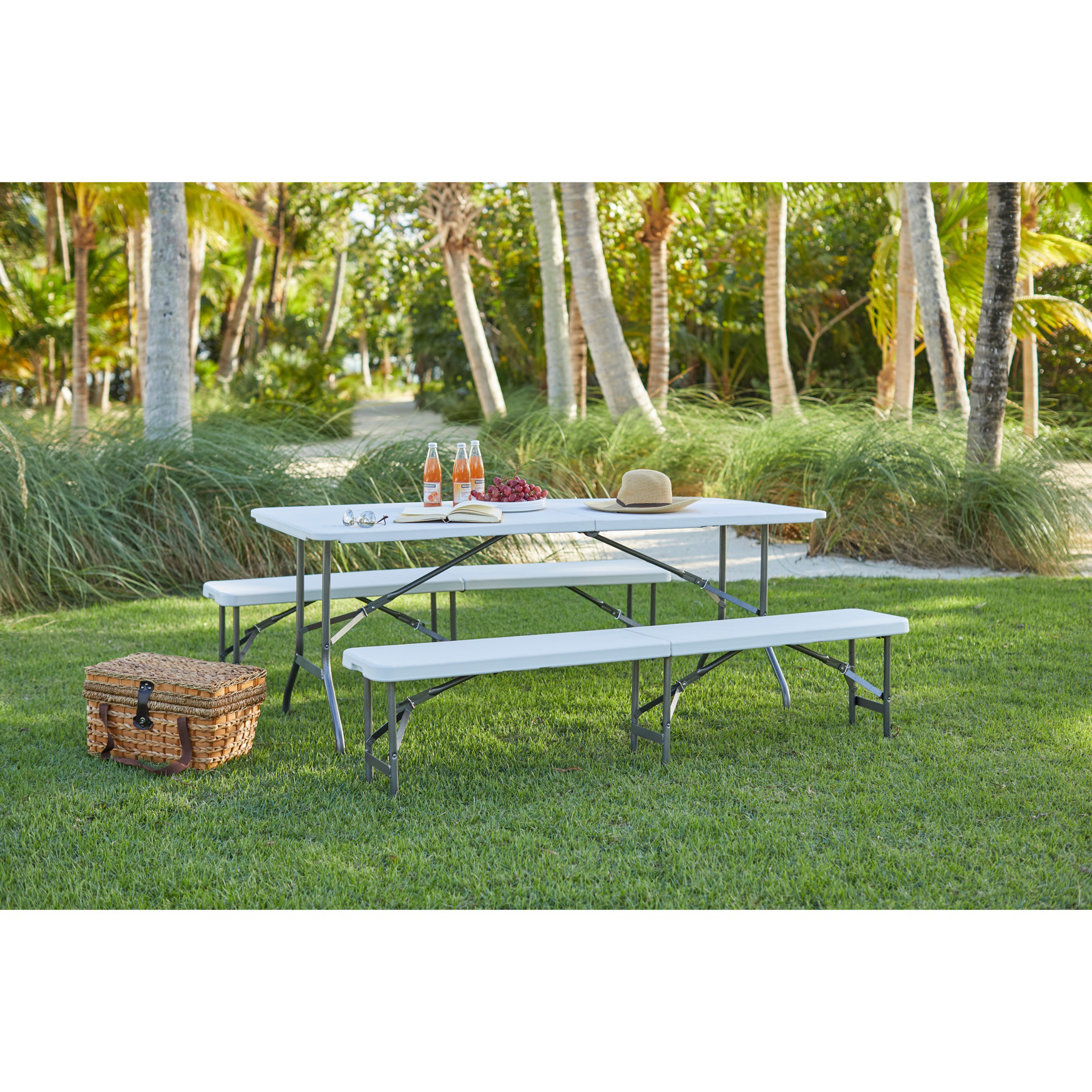 "Fold-In-Half Resin Bench, 6' Long, 17½""Hx12""Wx72½""L, WHITE"