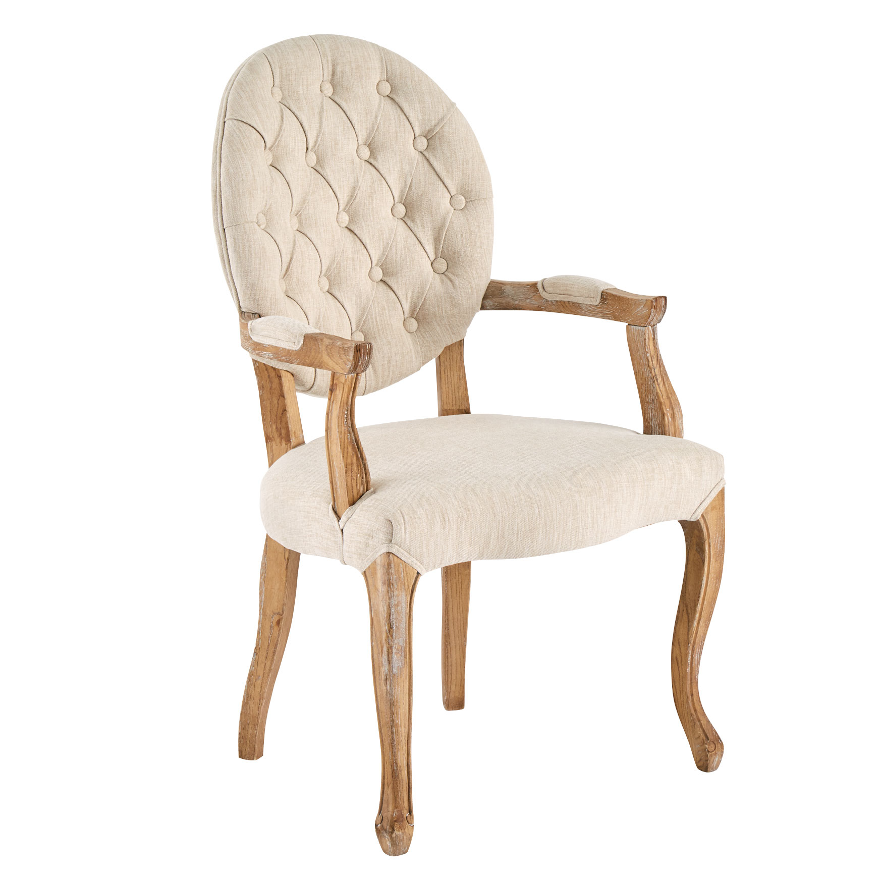 Upholstered Tufted Arm Chair, NATURAL