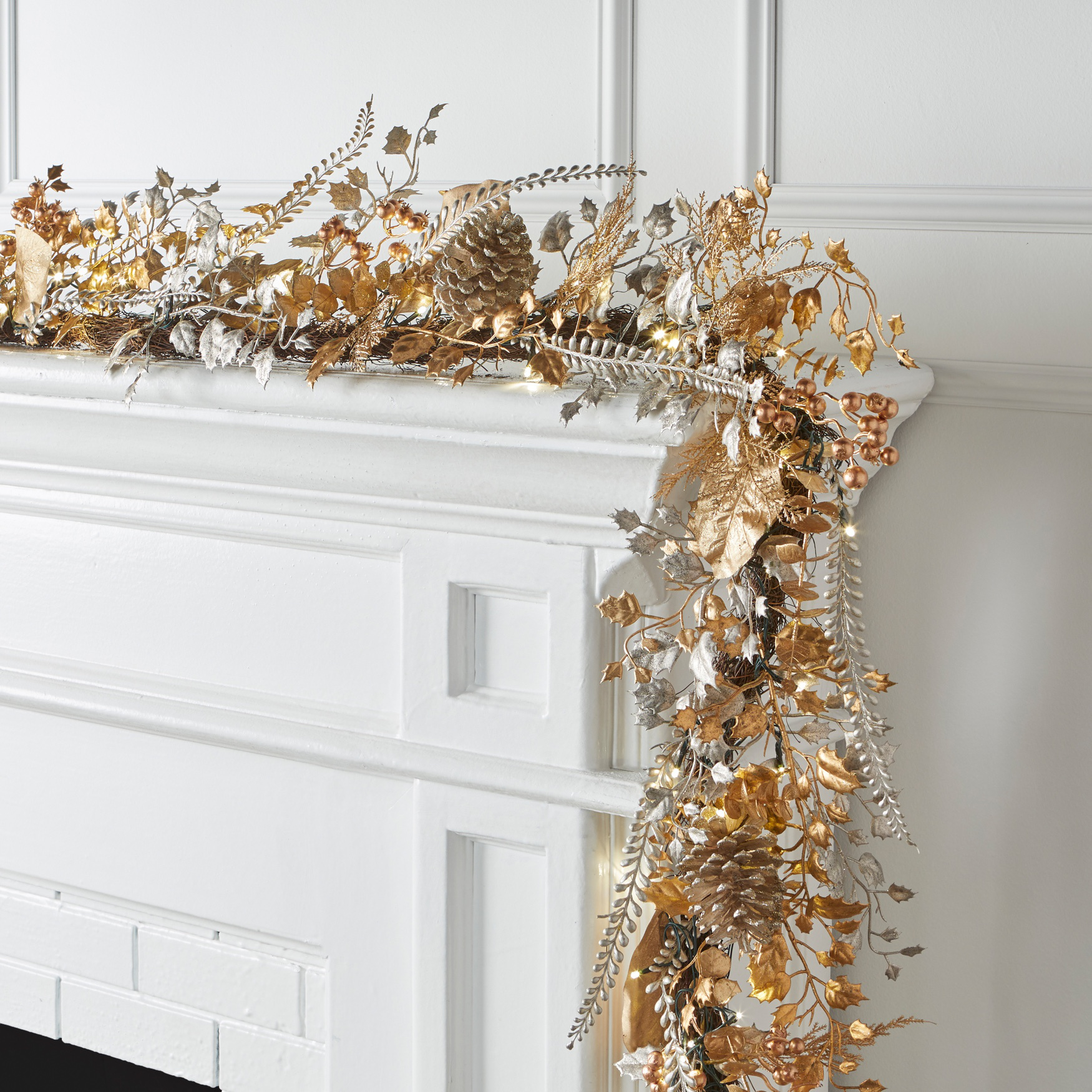 Pre-Lit Gold & Silver Garland, GOLD SILVER LIGHTS