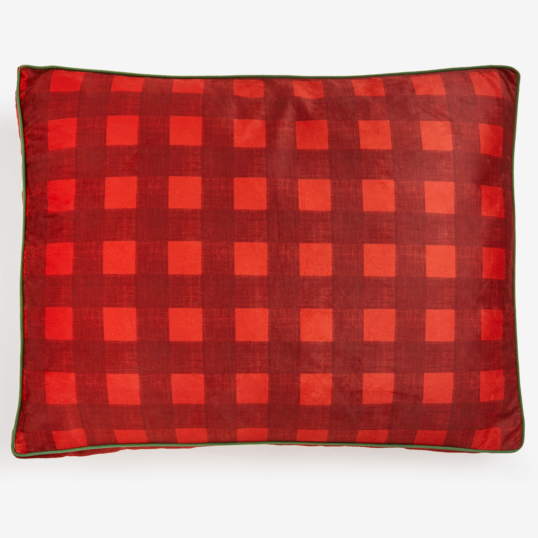 Large Brushed Fleece Buffalo Plaid Pet Bed,