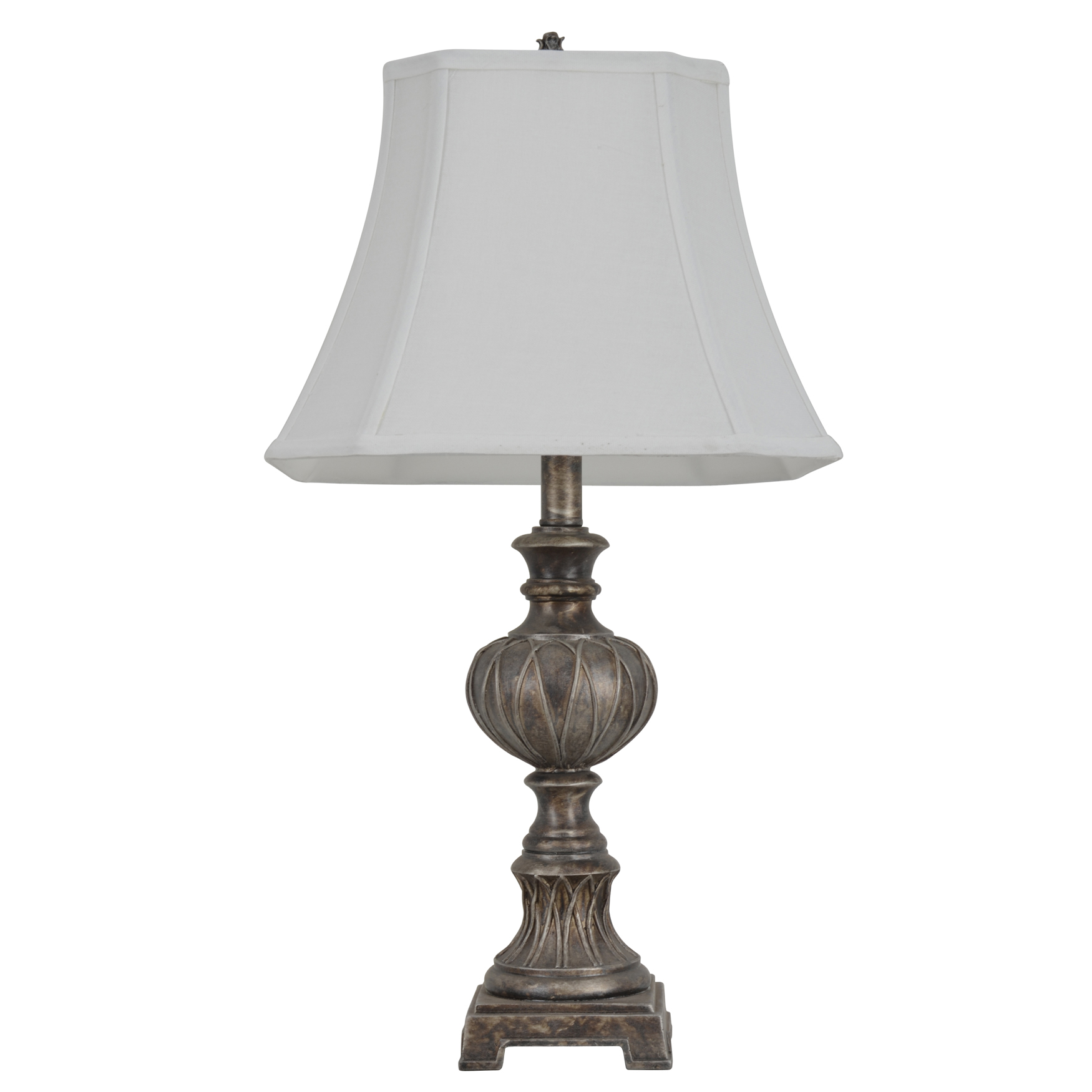 "25"" Carved Silver Tone Table Lamp, SILVER TONE"