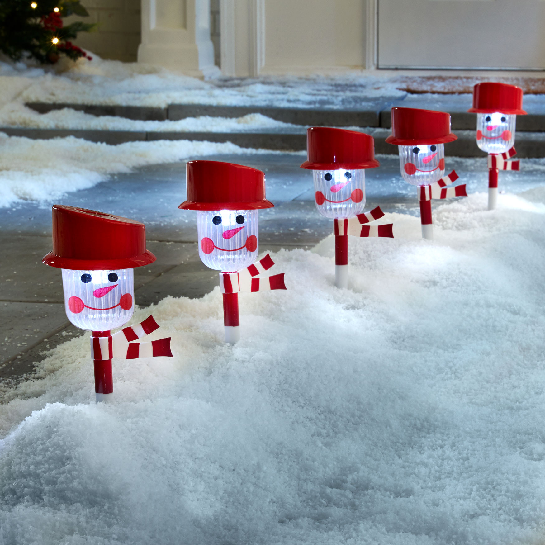 Snowman Solar Pathway Light Stakes, Set of 6, SNOWMAN
