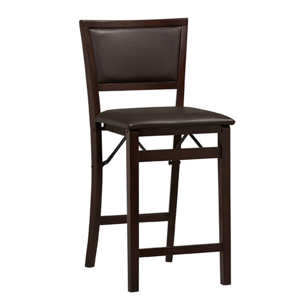 "Triena Pad Back Folding Counter Stool 24"", ESPRESSO"