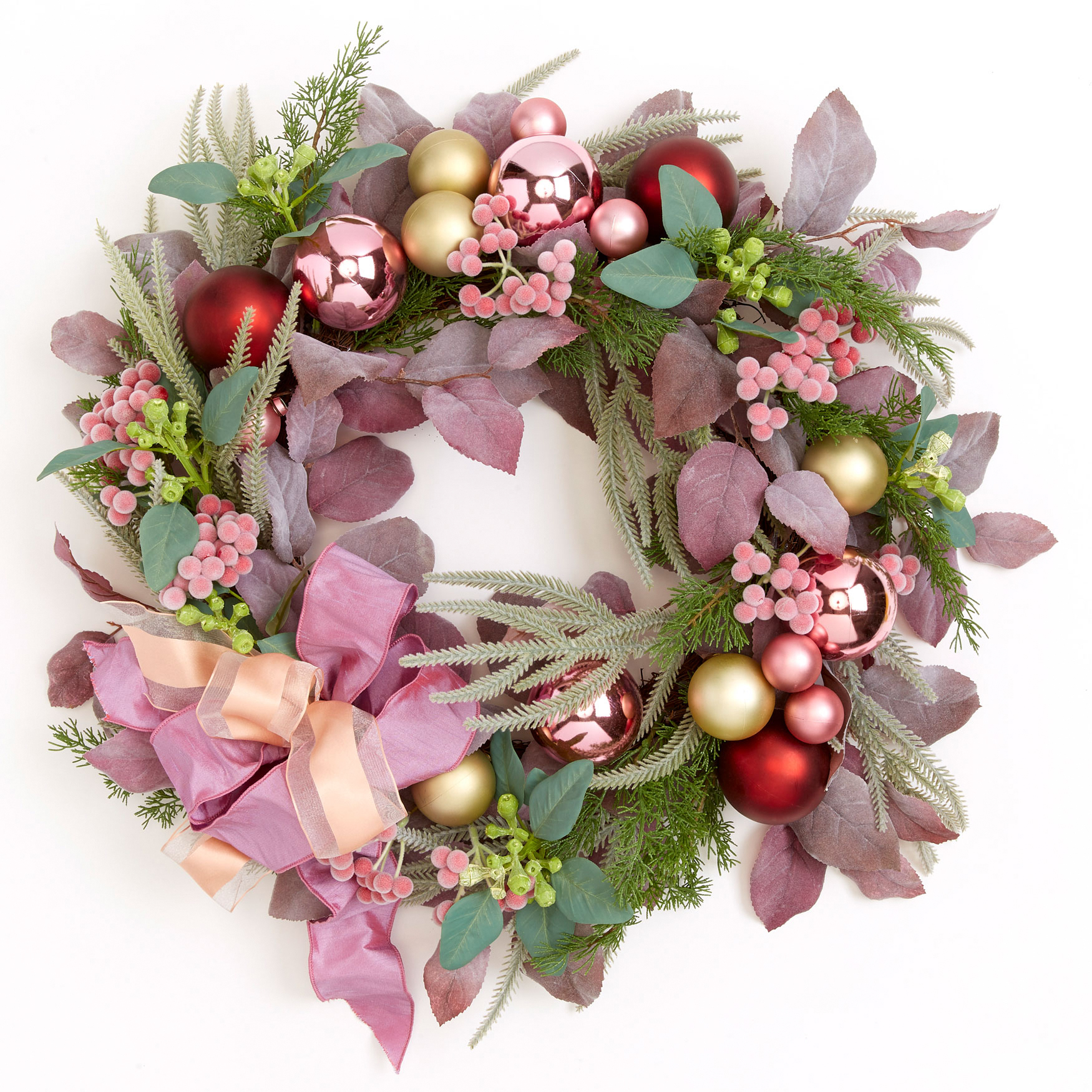 Blush Christmas Wreath, PINK MULTI