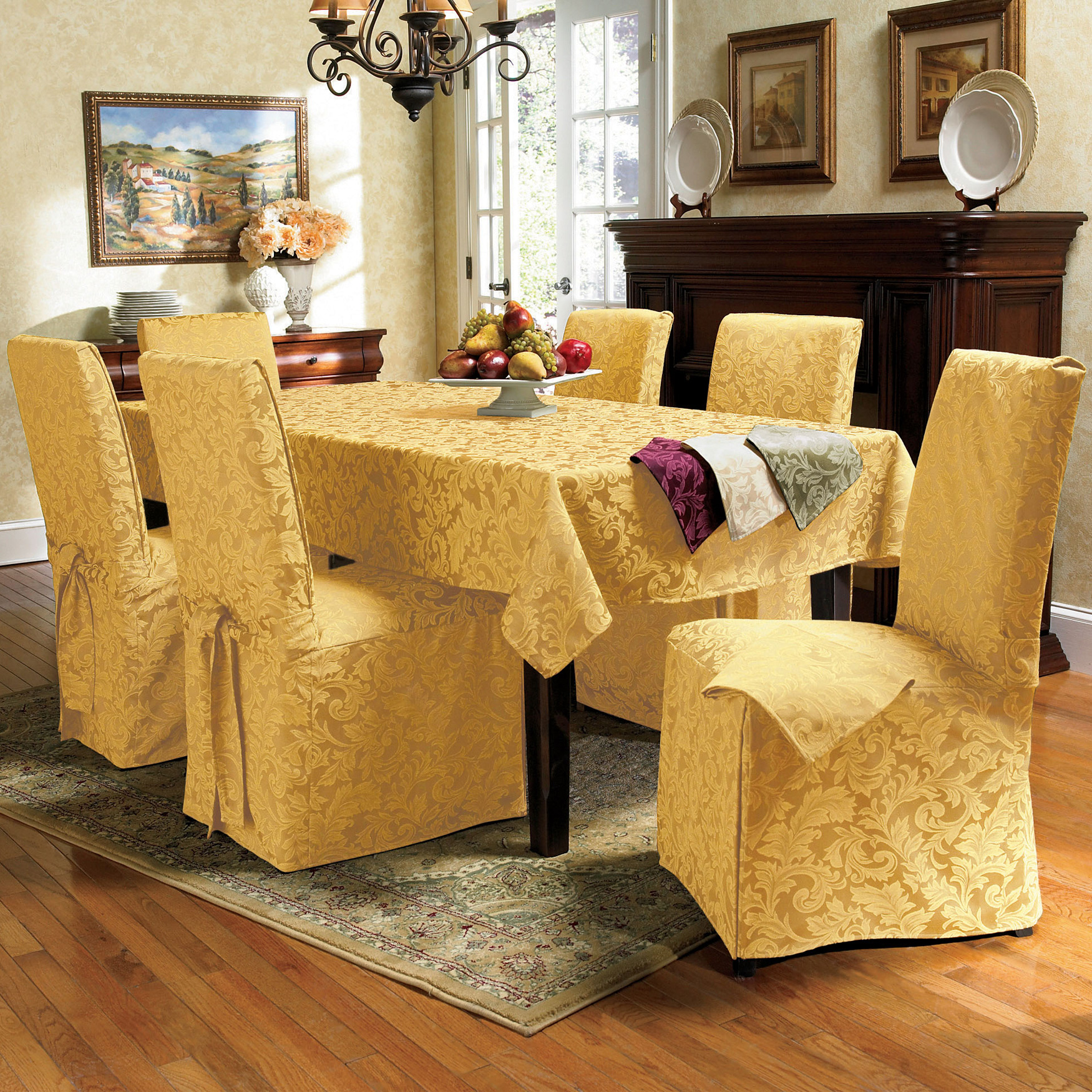 17-Pc. Damask Table Linen Set,