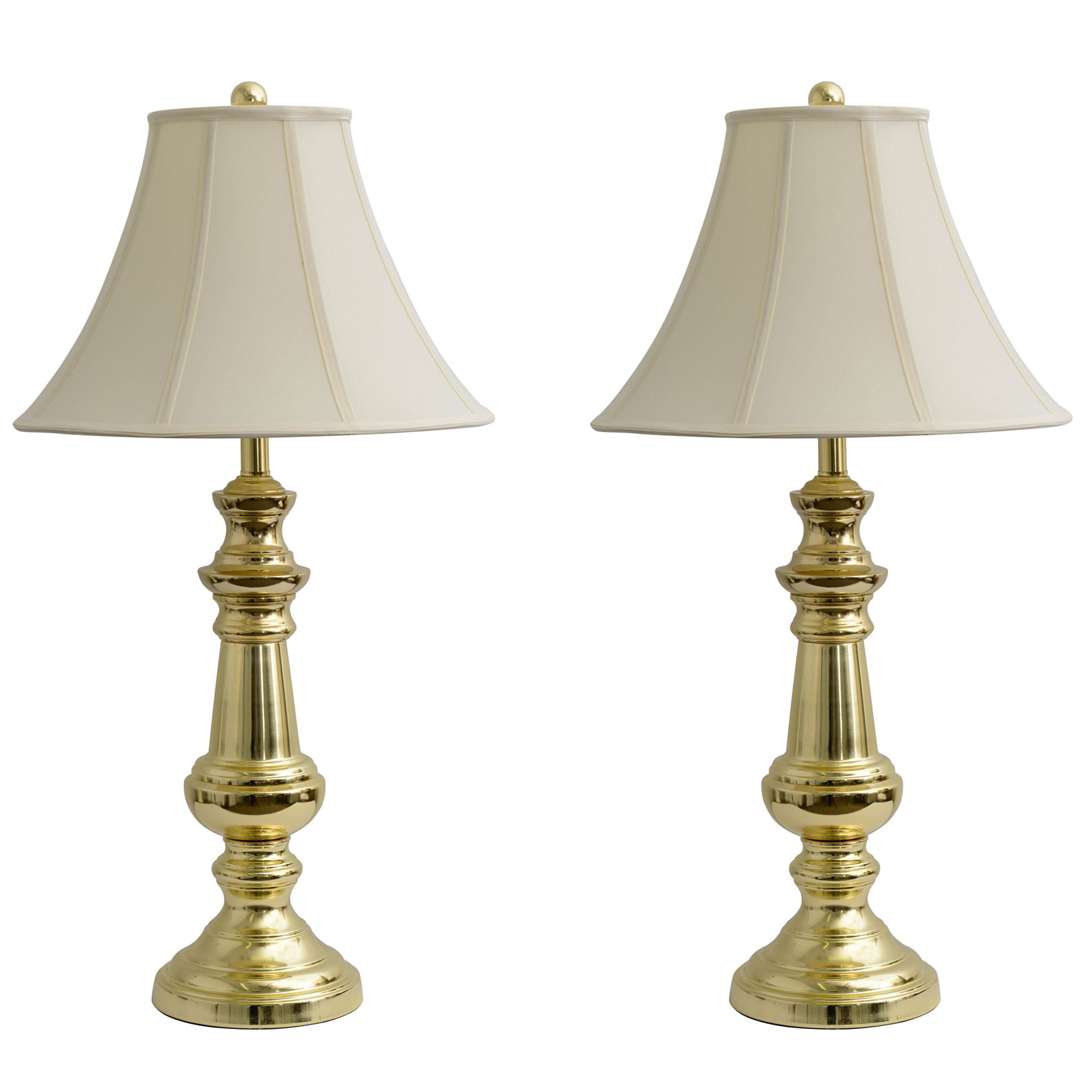 1 (Pair) Touch Control Polished Brass Table Lamps, POLISHED BRASS