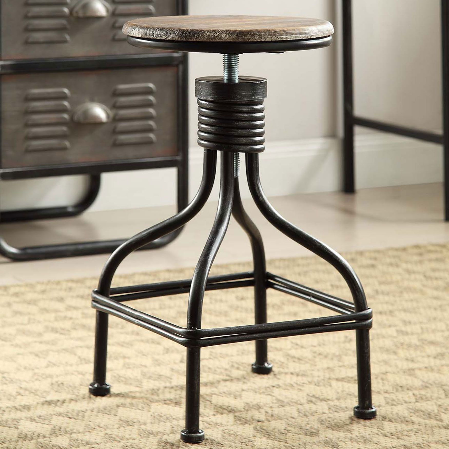 Adjustable Swivel Stool, BLACK GRAY