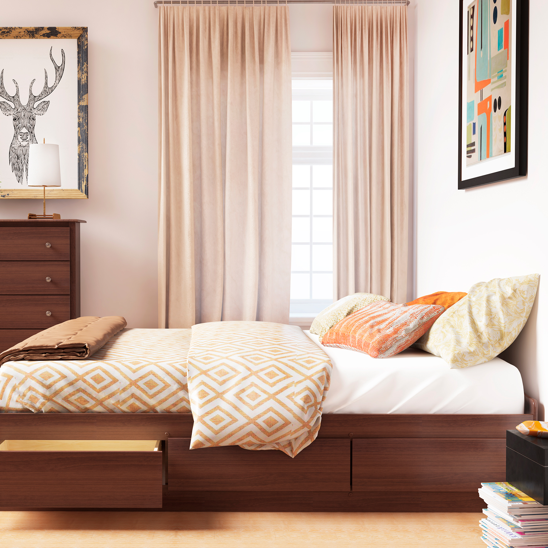 Queen Mate's Platform Storage Bed with 6 Drawers,