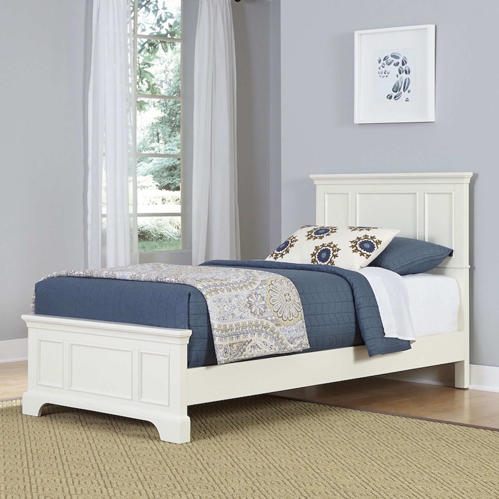 Naples Twin Bed, WHITE