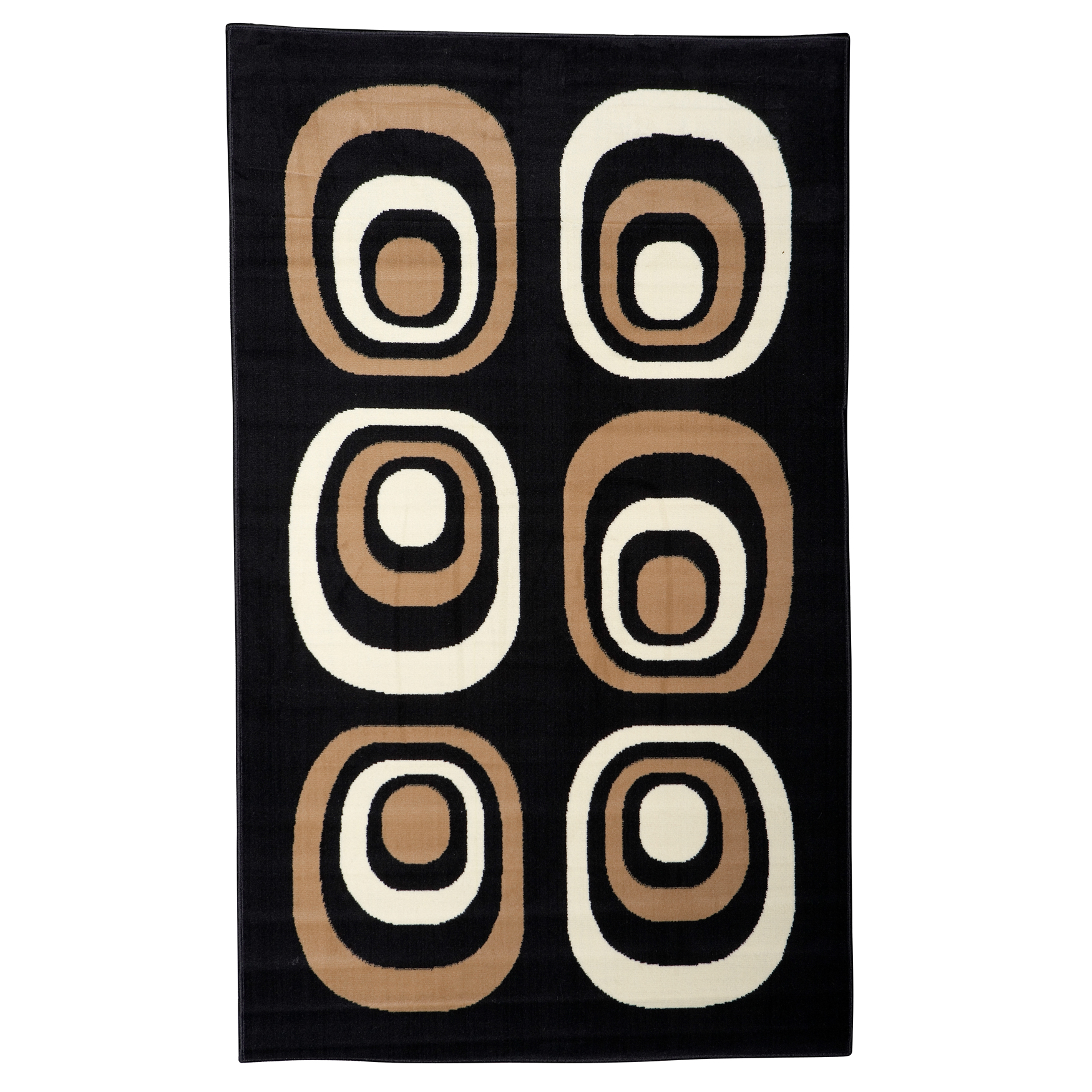 Capri Black/Tan 5' x 7' Area Rug, BLACK TAN