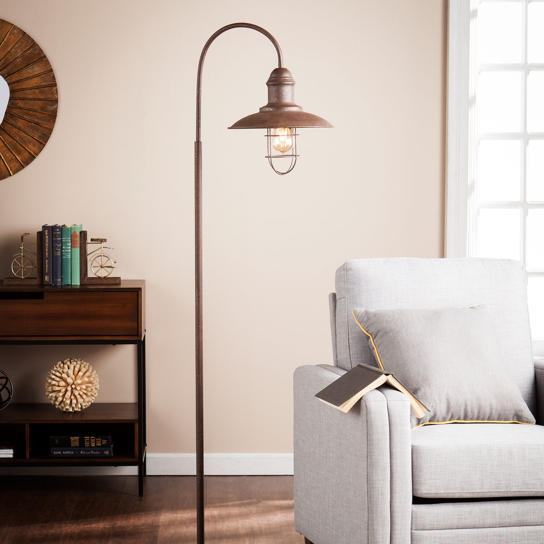Industrial Caged Bell Floor Lamp, RUSTIC BROWN