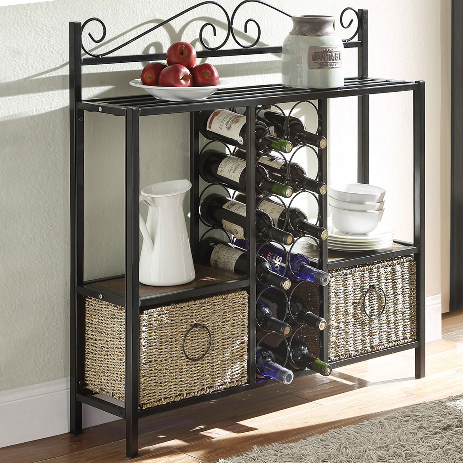 Storage Rack with Two Baskets, BLACK BROWN