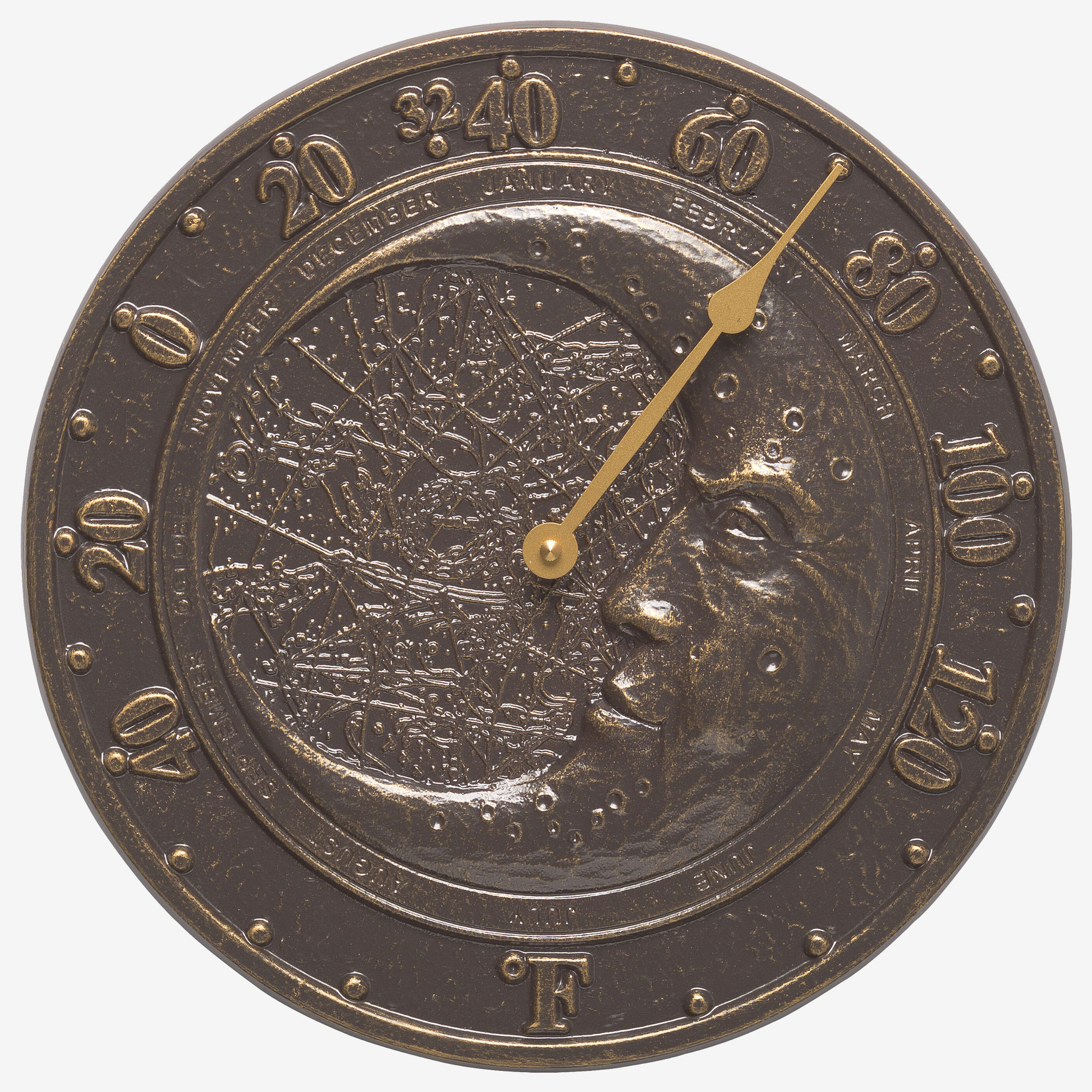 Moon Thermometer, FRENCH BRONZE