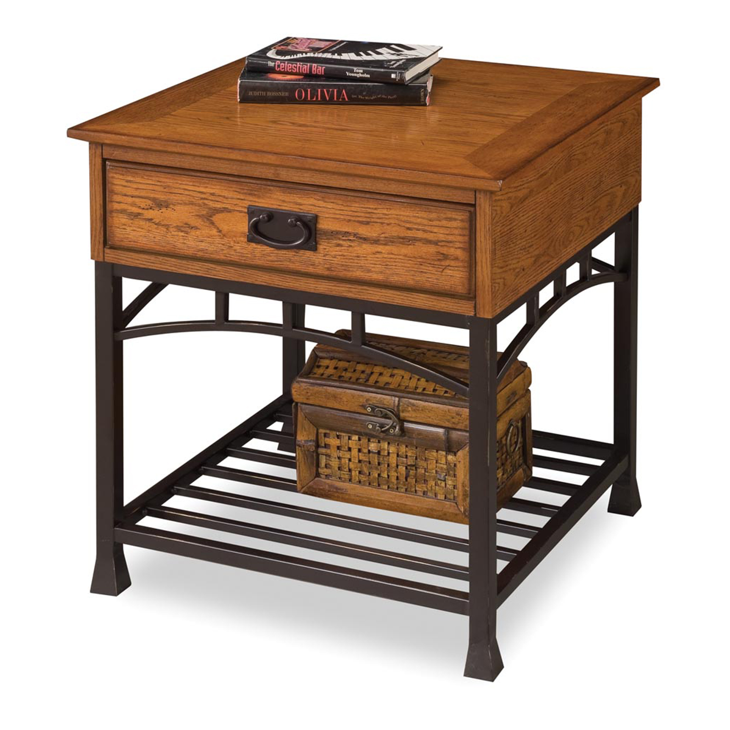 Modern Craftsman Distressed Oak End Table, DISTRESSED OAK