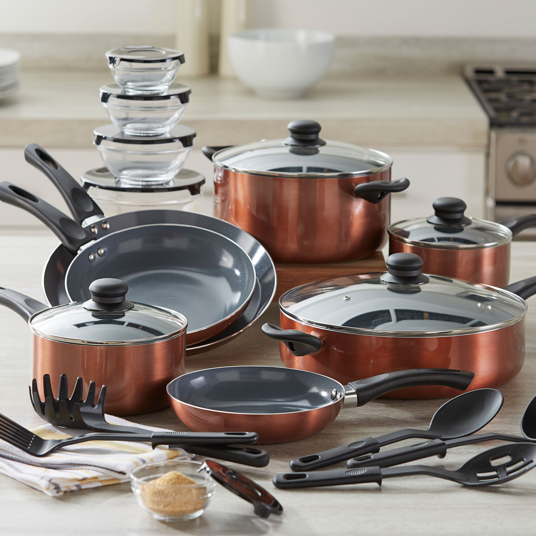 26-Pc. Aluminum Cookware Set, COPPER