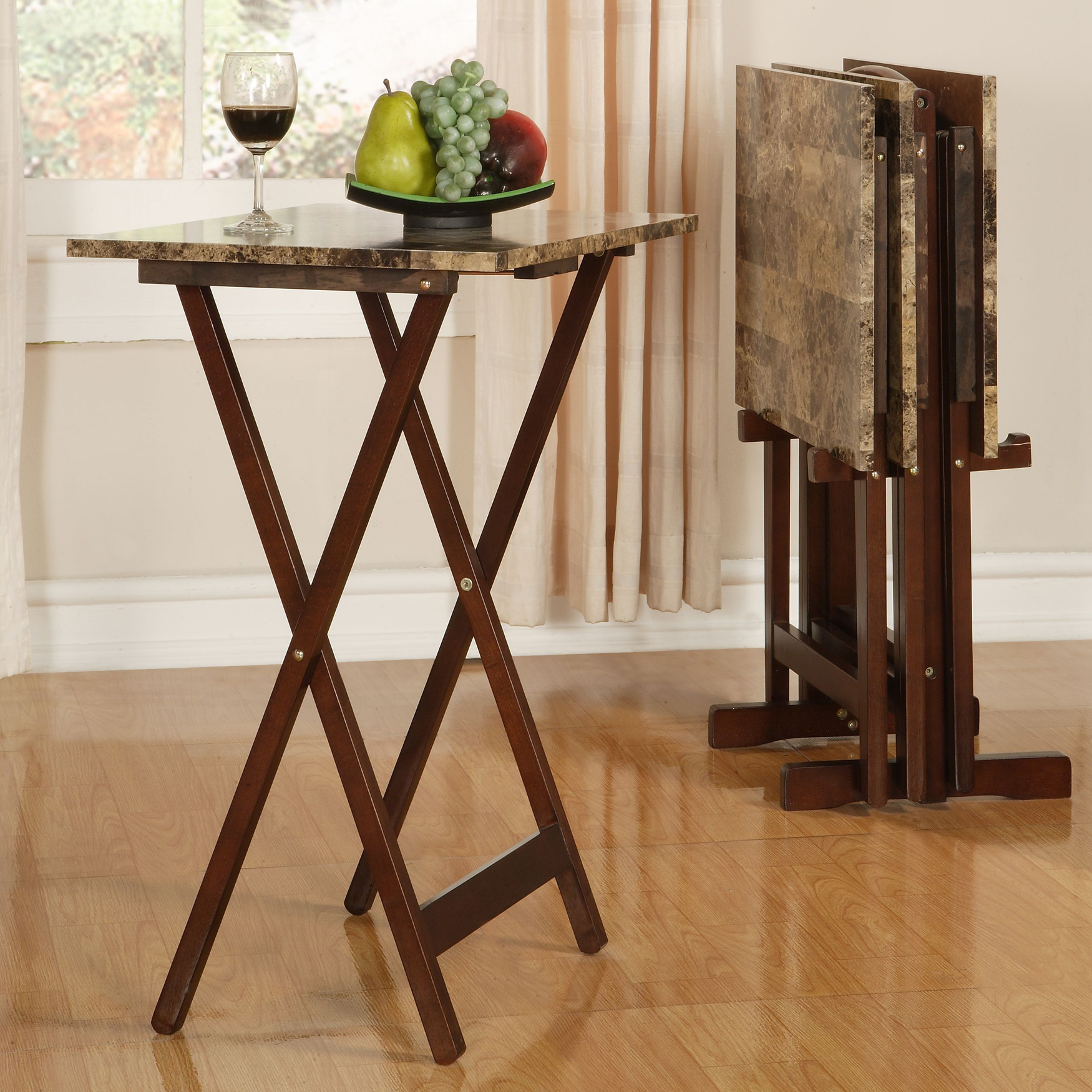 Faux Marble Tray Table 5-Pc. Set, MARBLE BROWN