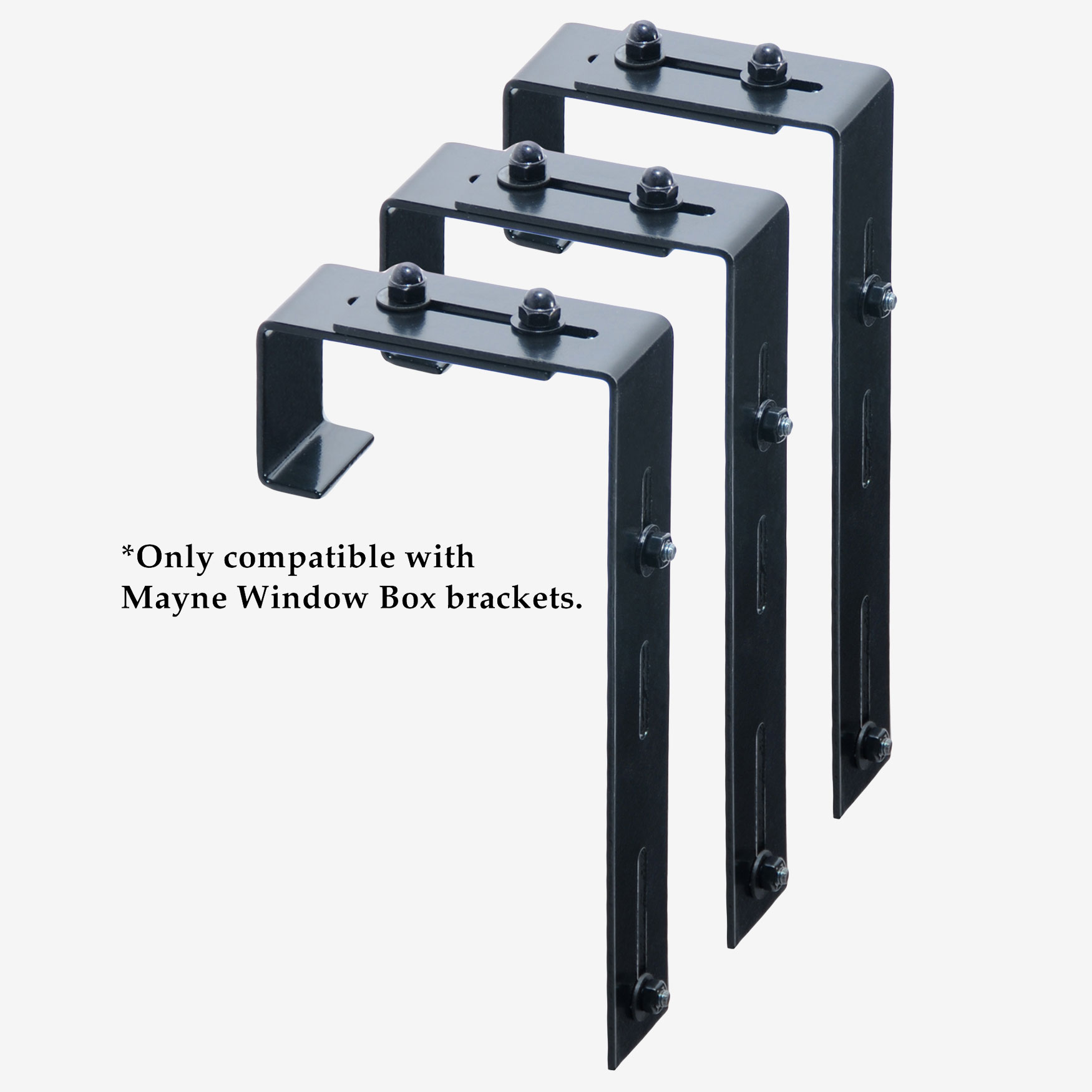 Mayne® Adjustable Deck Rail Bracket 3-Pack, BLACK