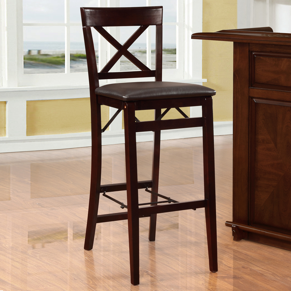 Triena X Back Folding Bar Stool, ESPRESSO