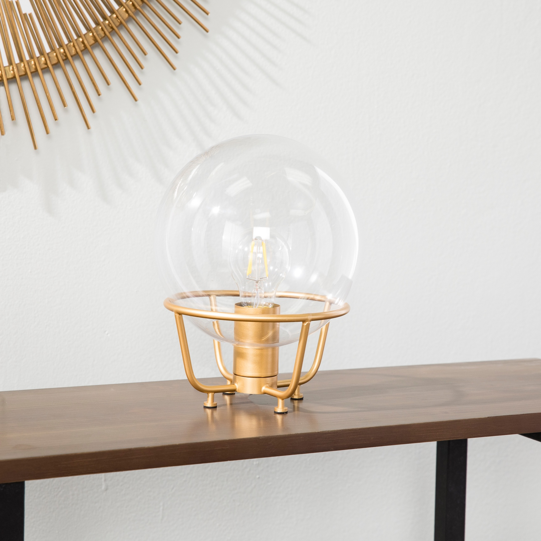 Brenton Hand-Blown Glass Table Lamp, BRASS