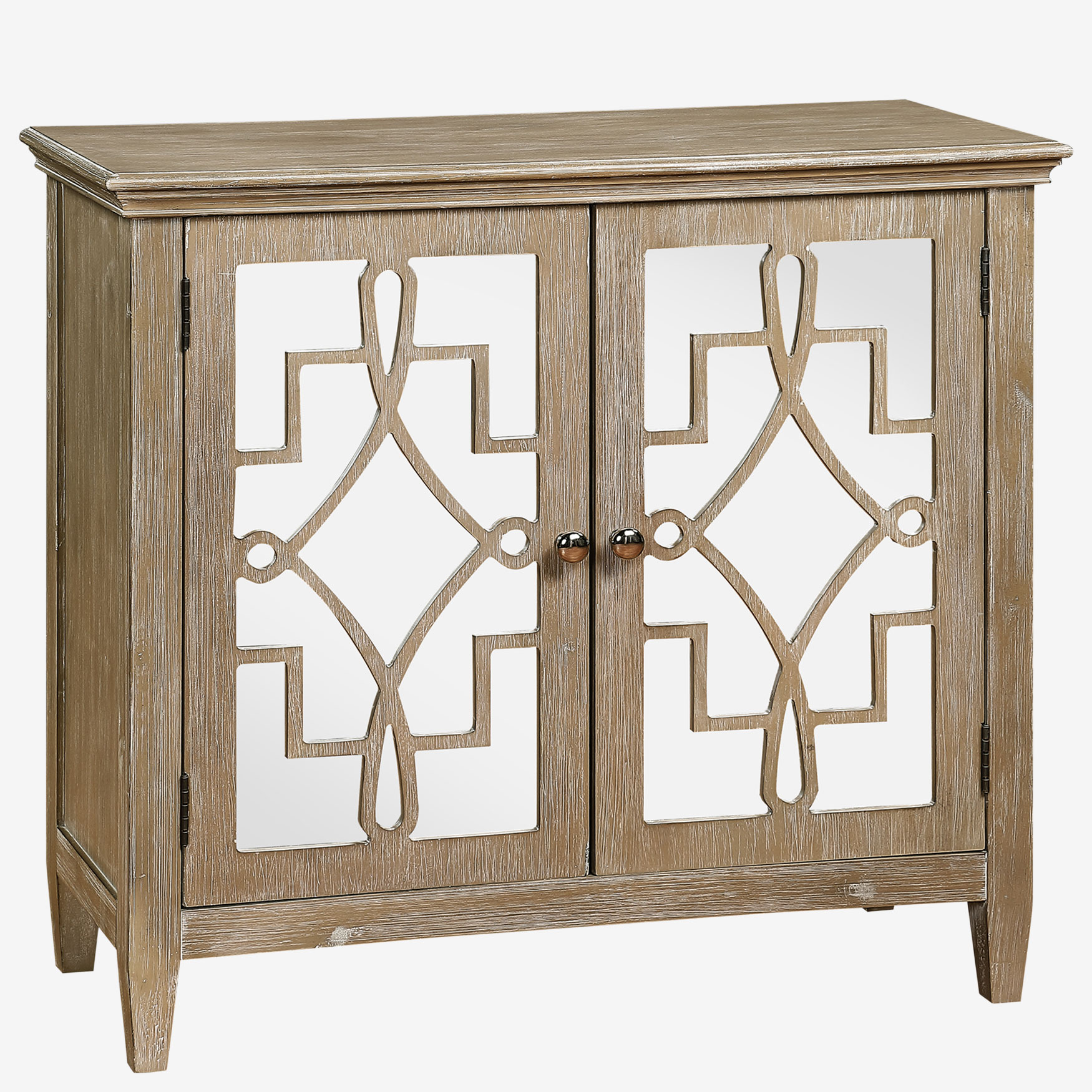 Lucy Accent Chest With Mirrored Doors, WHITE WASH
