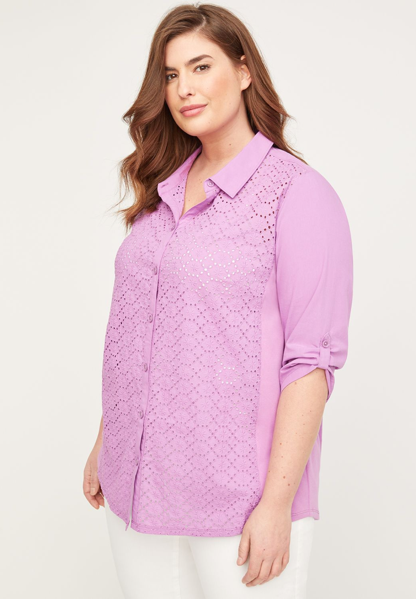 Eyelet Buttonfront Top,