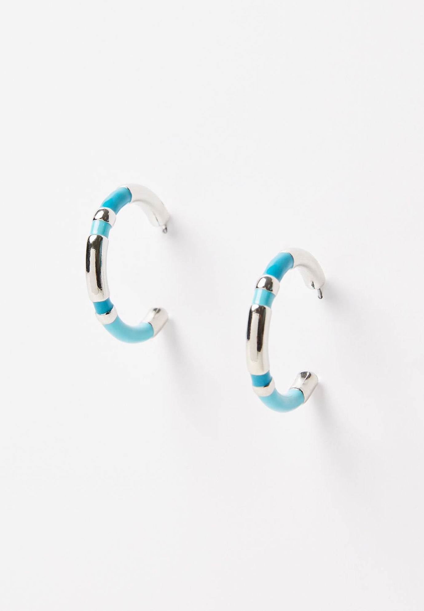 Brilliant Blue Hoop Earrings, AQUA