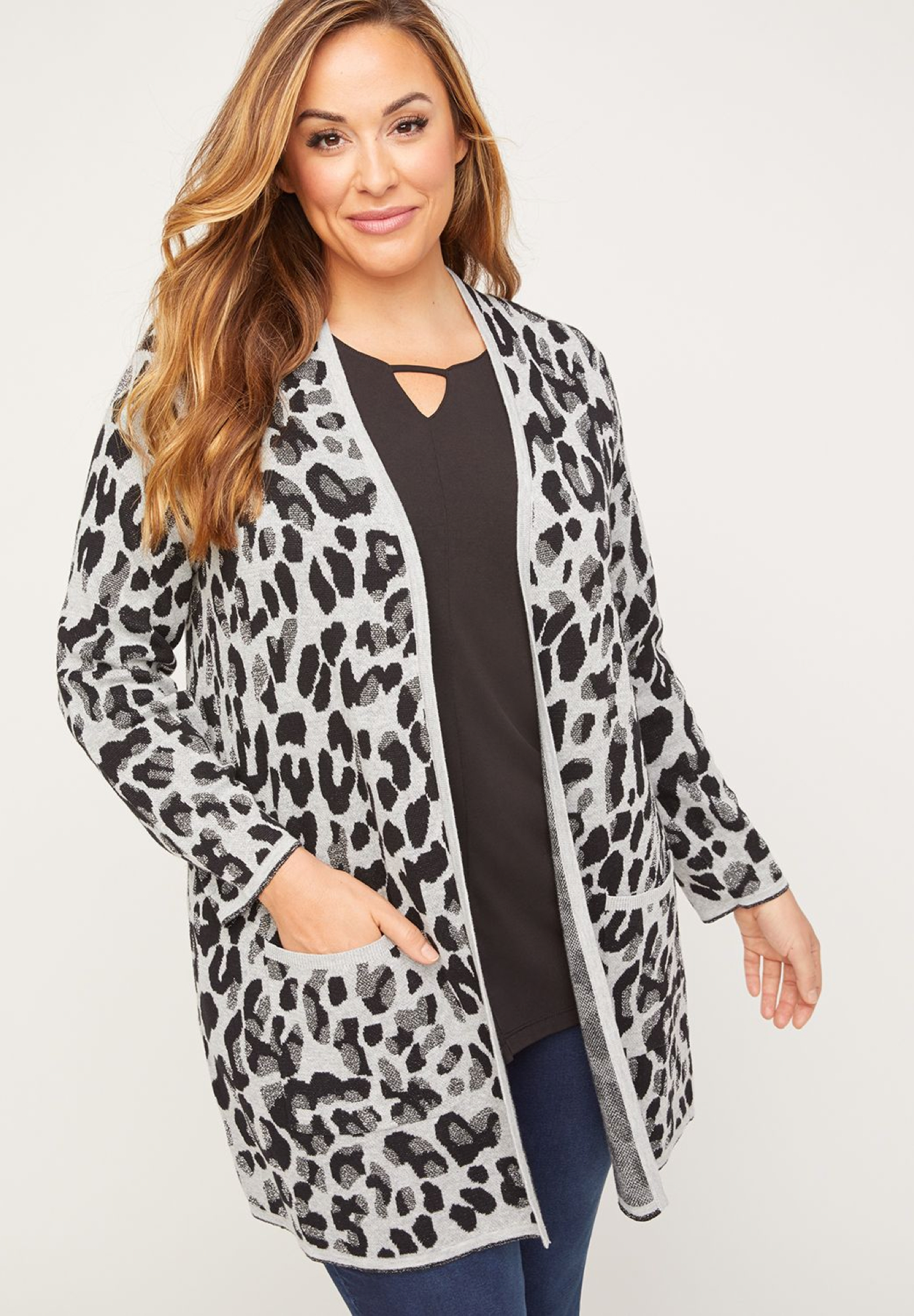 Sparkling Animal Print Cardigan (with Pockets),