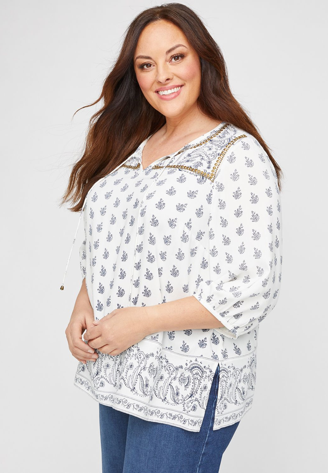 Embellished Springs Peasant Top,