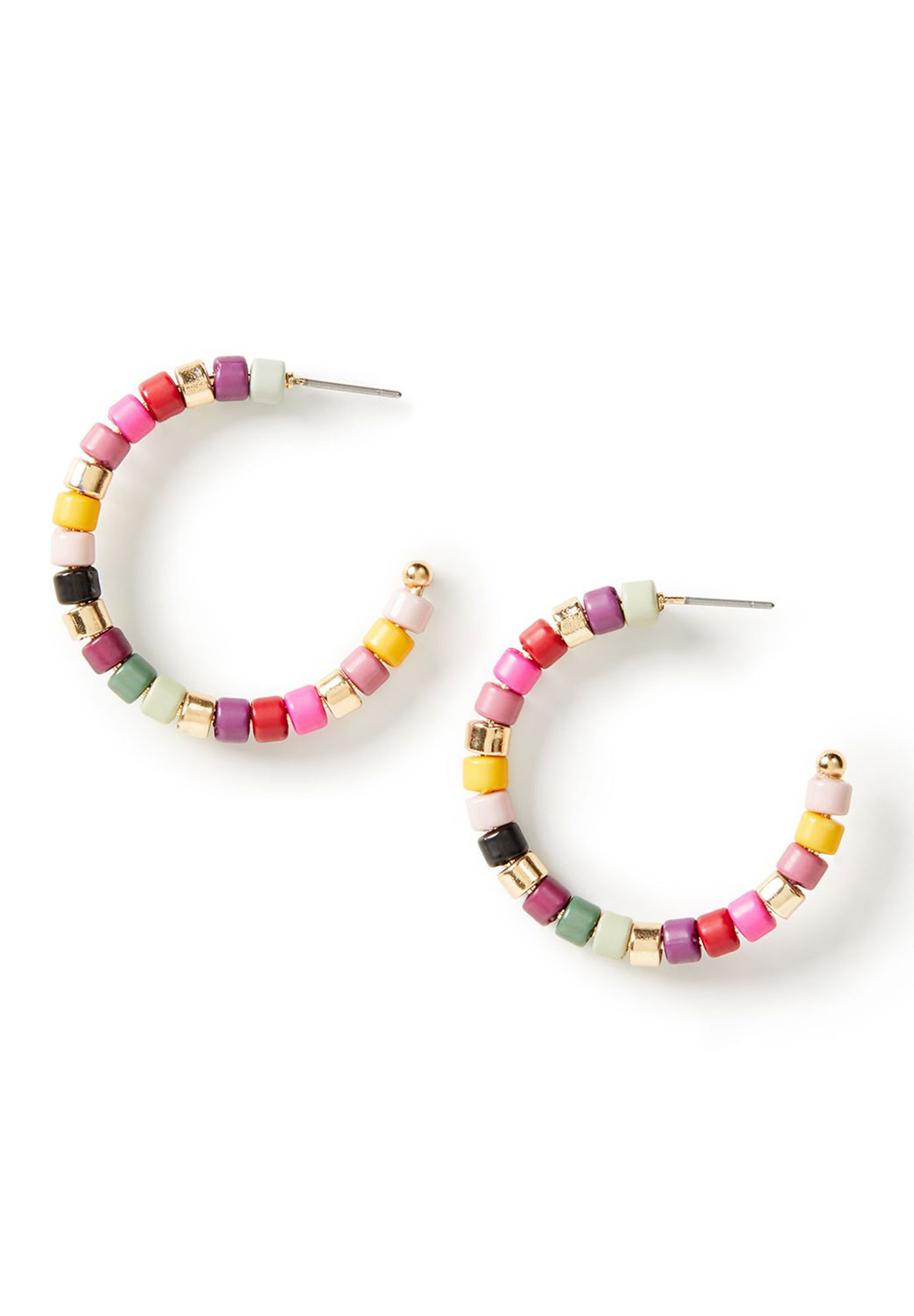 Rainbow Beaded Hoop Earrings, GOLD