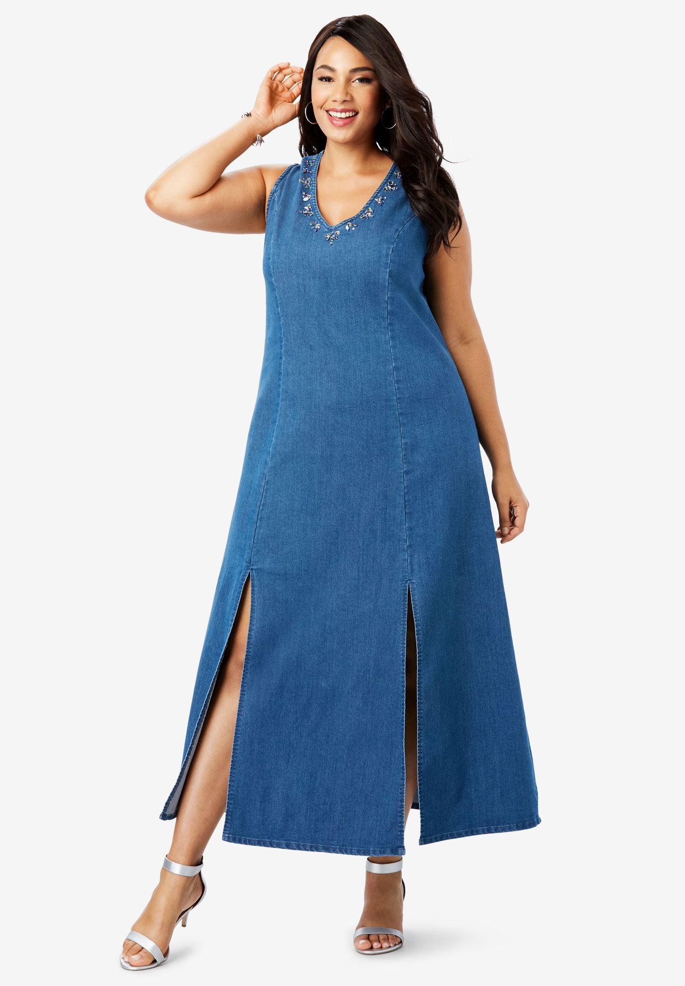 Denim A-Line Maxi Dress | Plus Size Maxi Dresses | Full Beauty