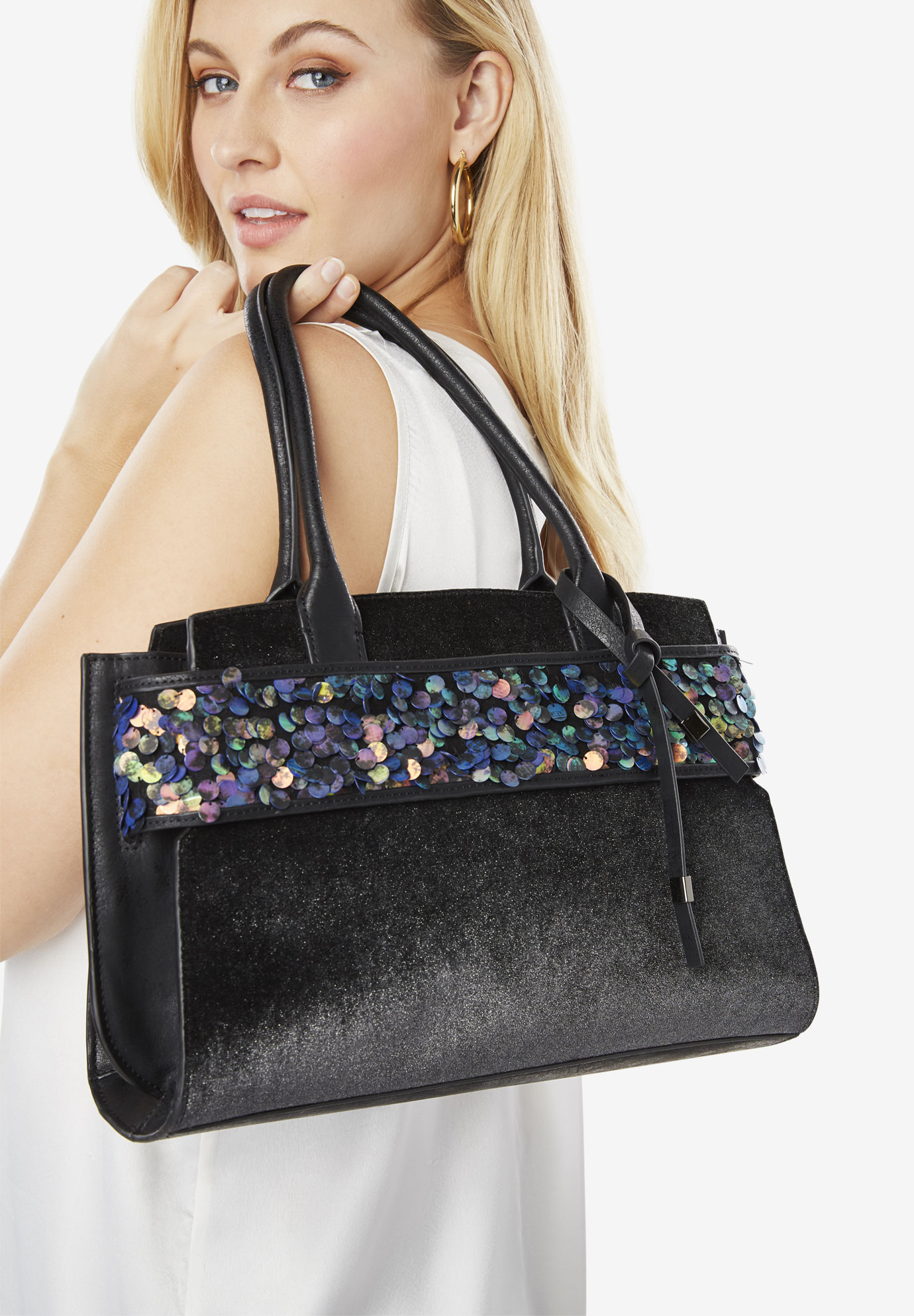 Sequin Trim Bag, BLACK SEQUIN