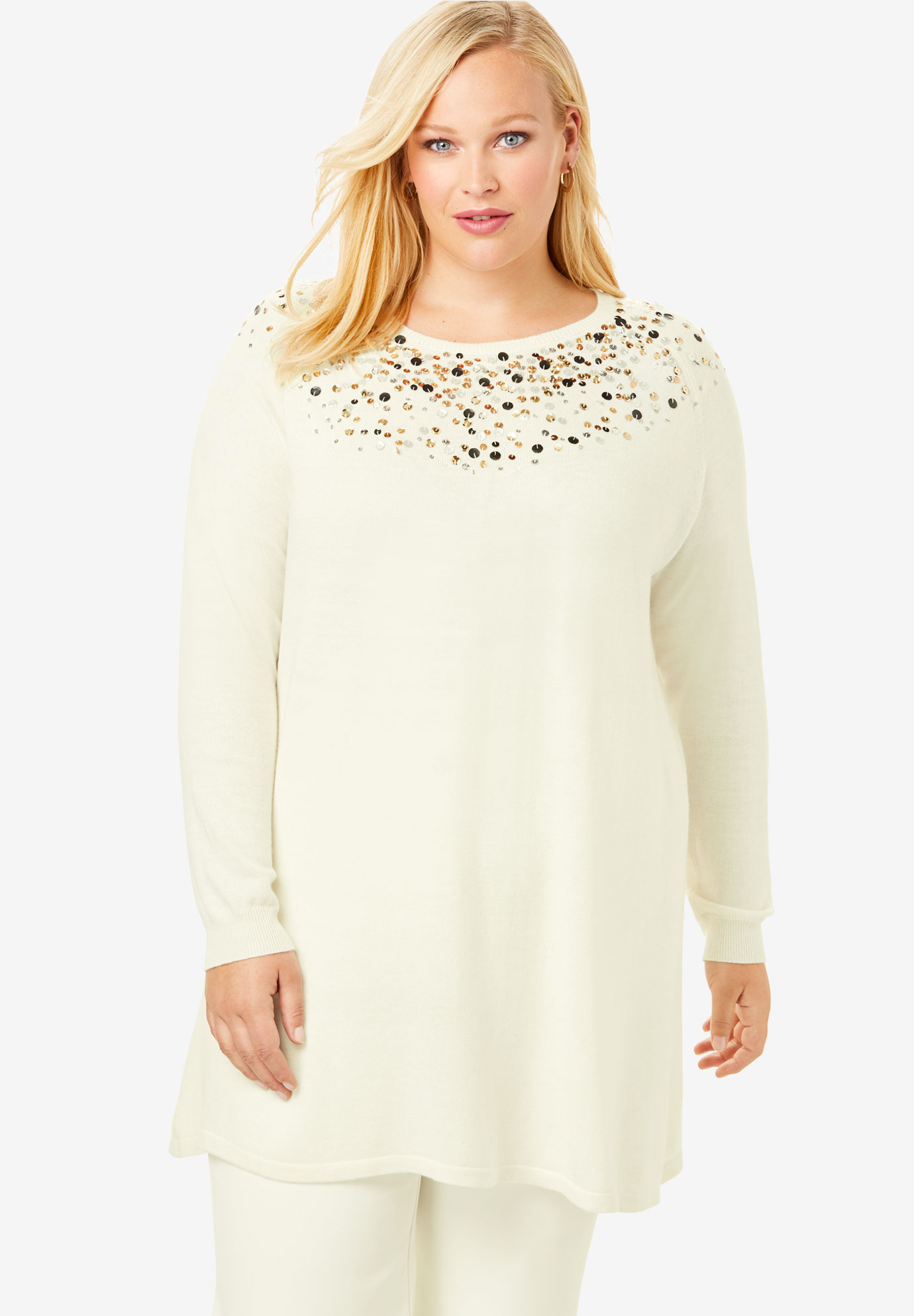Jewel Neck Cotton Cashmere Sweater,