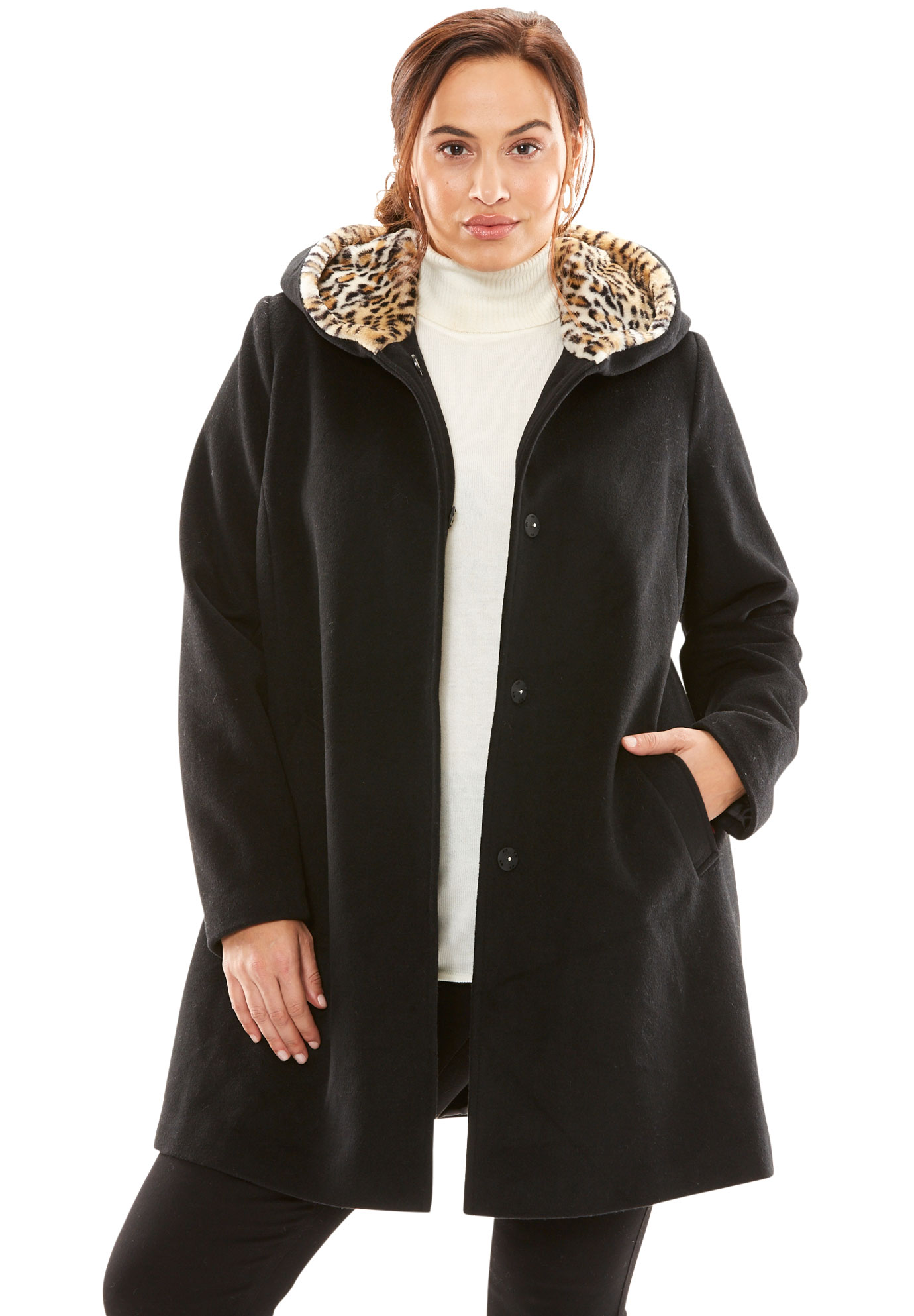 ff52021f5fb7 A-Line Coat With Leopard-Print Hood| Plus Size Coats | Full Beauty
