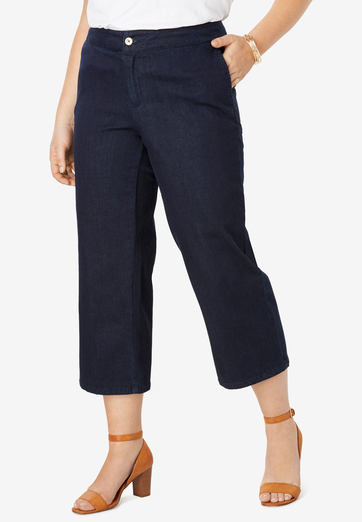 Cropped Straight Leg Jeans,