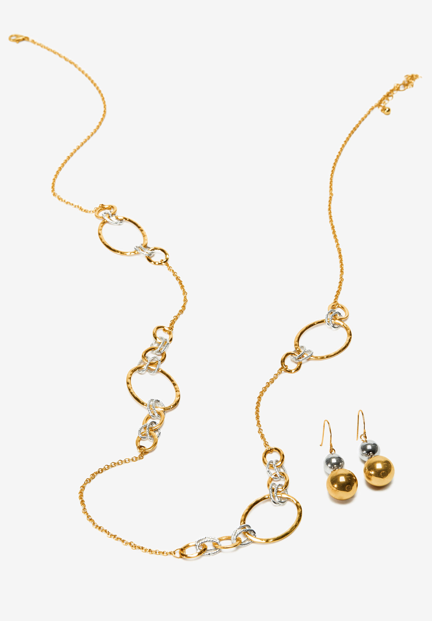 Oval Link Necklace & Earring Set, GOLD SILVER