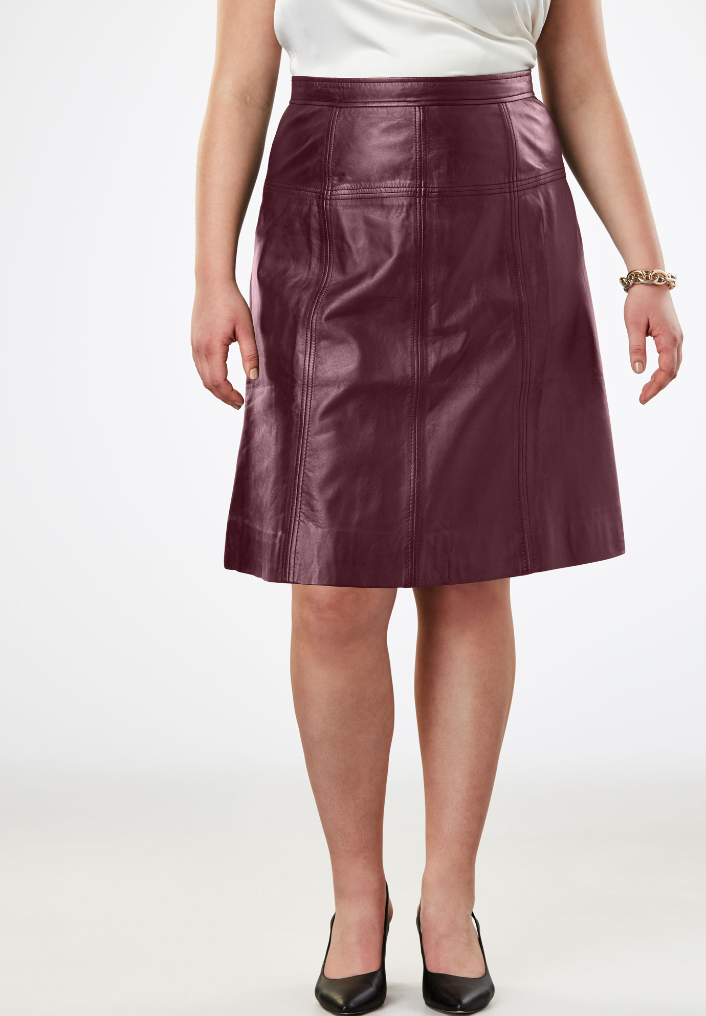 A-Line Leather Skirt,