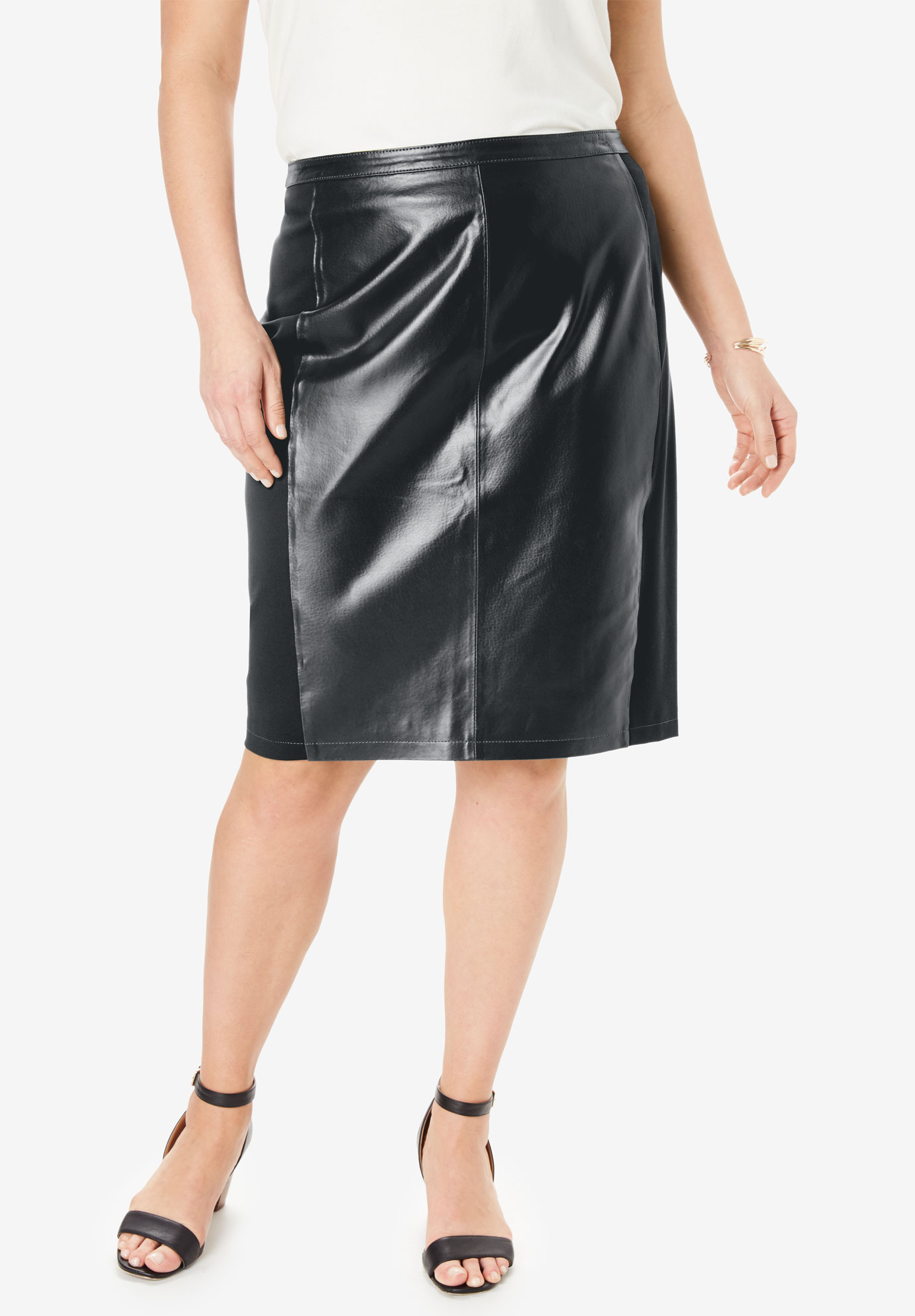 d1ab73c0675 Leather and Pont eacute  Knit Skirt